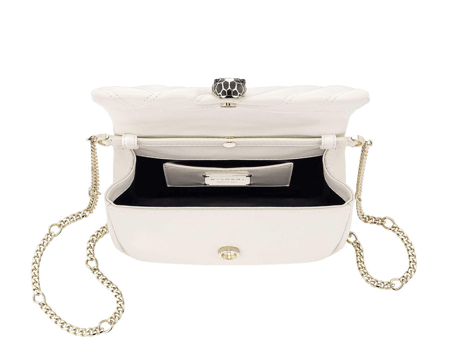 Serpenti Cabochon micro bag in soft matelassé white agate calf leather, with a graphic motif. Brass light gold plated tempting snake head closure in black and white agate enamel and black onyx eyes. 288760 image 4