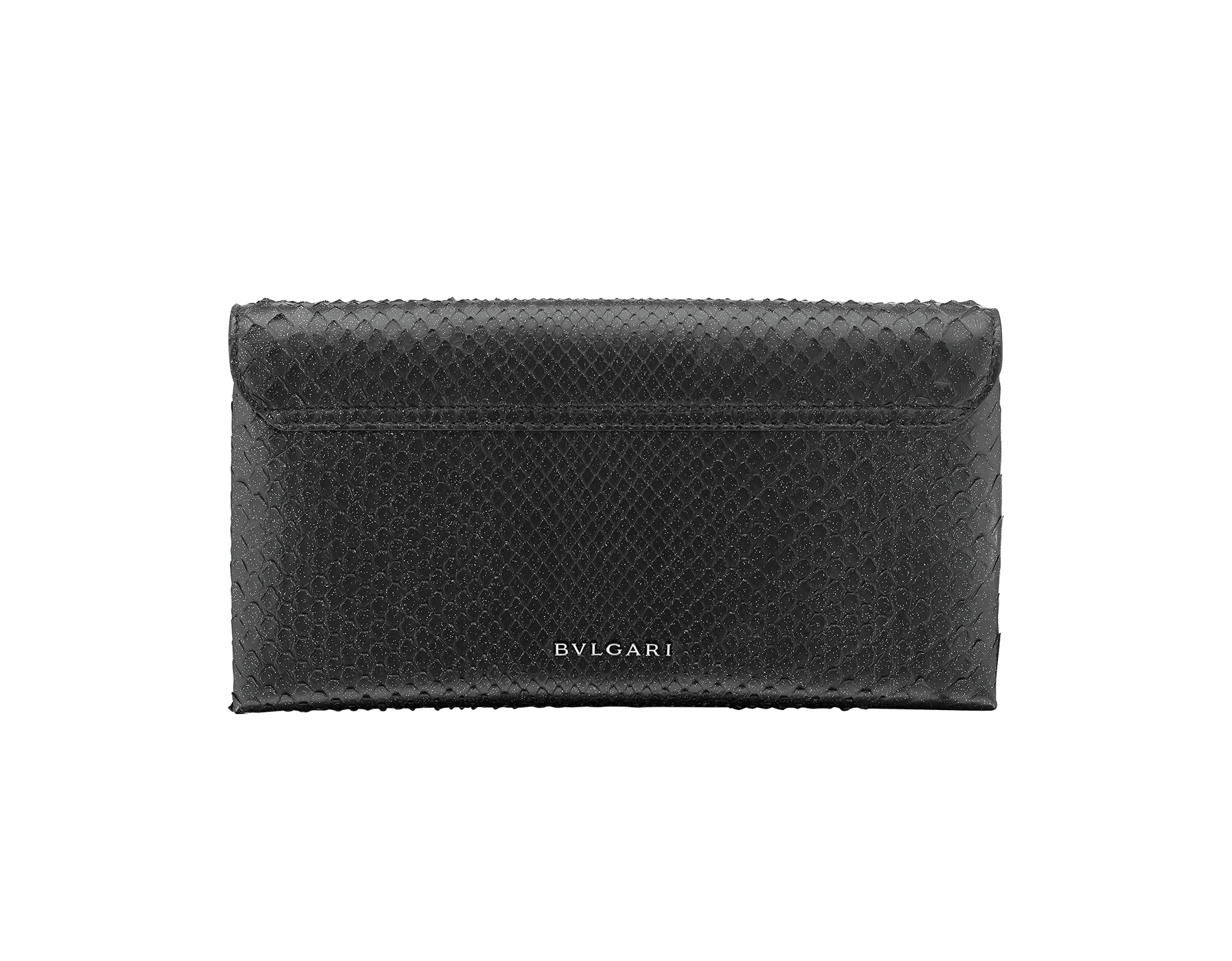 """""""Serpenti"""" evening clutch bag in black Diamond Glam python skin. Iconic snake head stud closure with tassel in dark ruthenium plated brass enriched with black shiny enamel and black onyx eyes. 289041 image 3"""