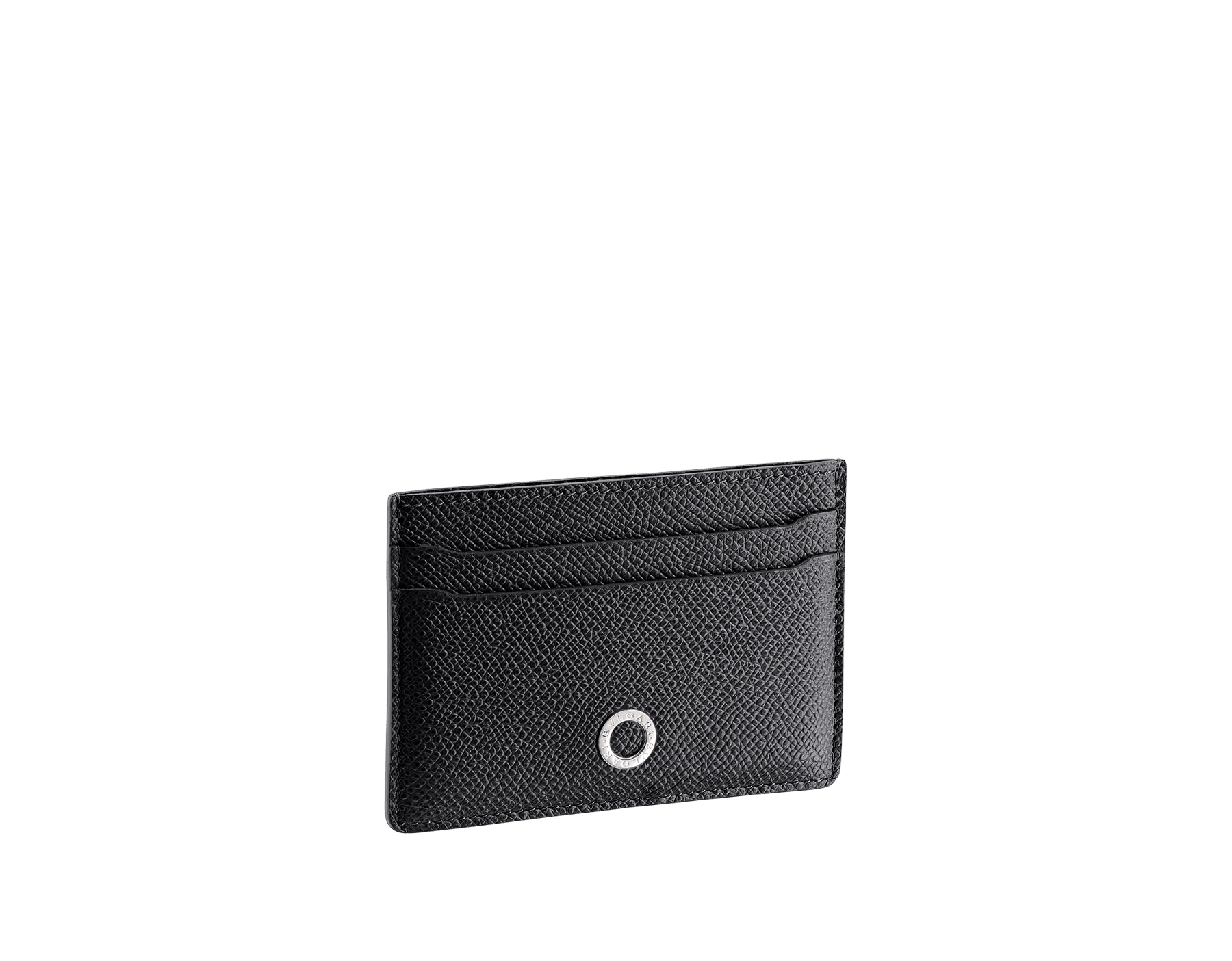 BVLGARI BVLGARI credit card holder in black and cobalt tourmaline grain calf leather and black nappa lining. Iconic logo décor in palladium plated brass. 288600 image 1