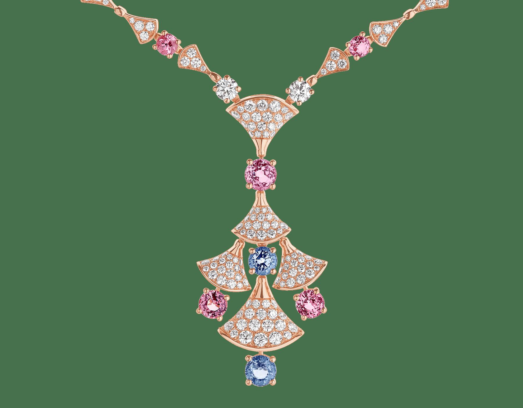 DIVAS' DREAM 18 kt rose gold necklace set with round brilliant-cut diamonds (3.06 ct), brilliant-cut spinels (4.04 ct) and pavé diamonds (3.63 ct) 357942 image 3