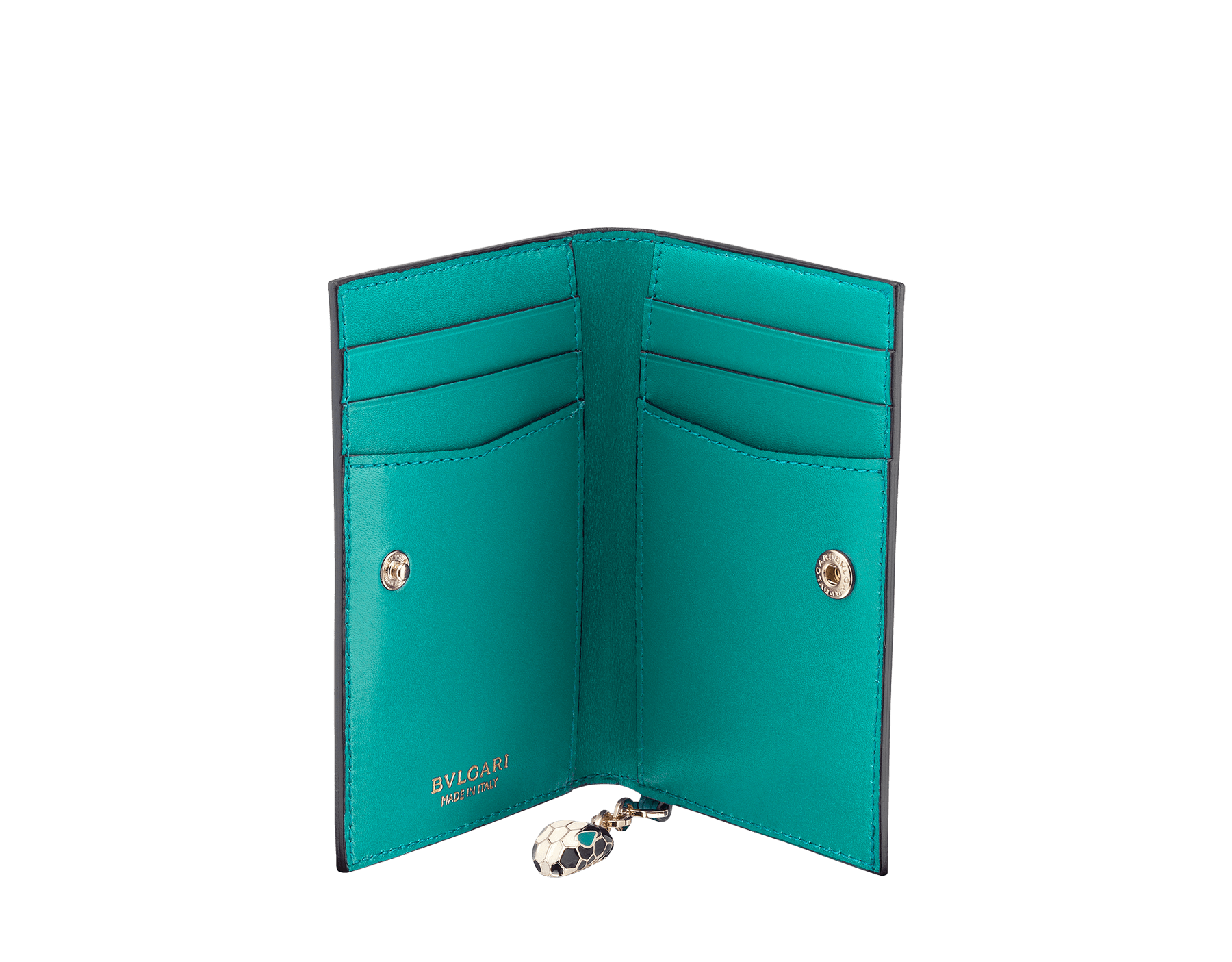 Serpenti Forever folded credit card holder in glacier turquoise calf leather. Iconic snakehead charm in black and white enamel, with green malachite enamel eyes. SEA-CC-HOLDER-FOLD-CLd image 2