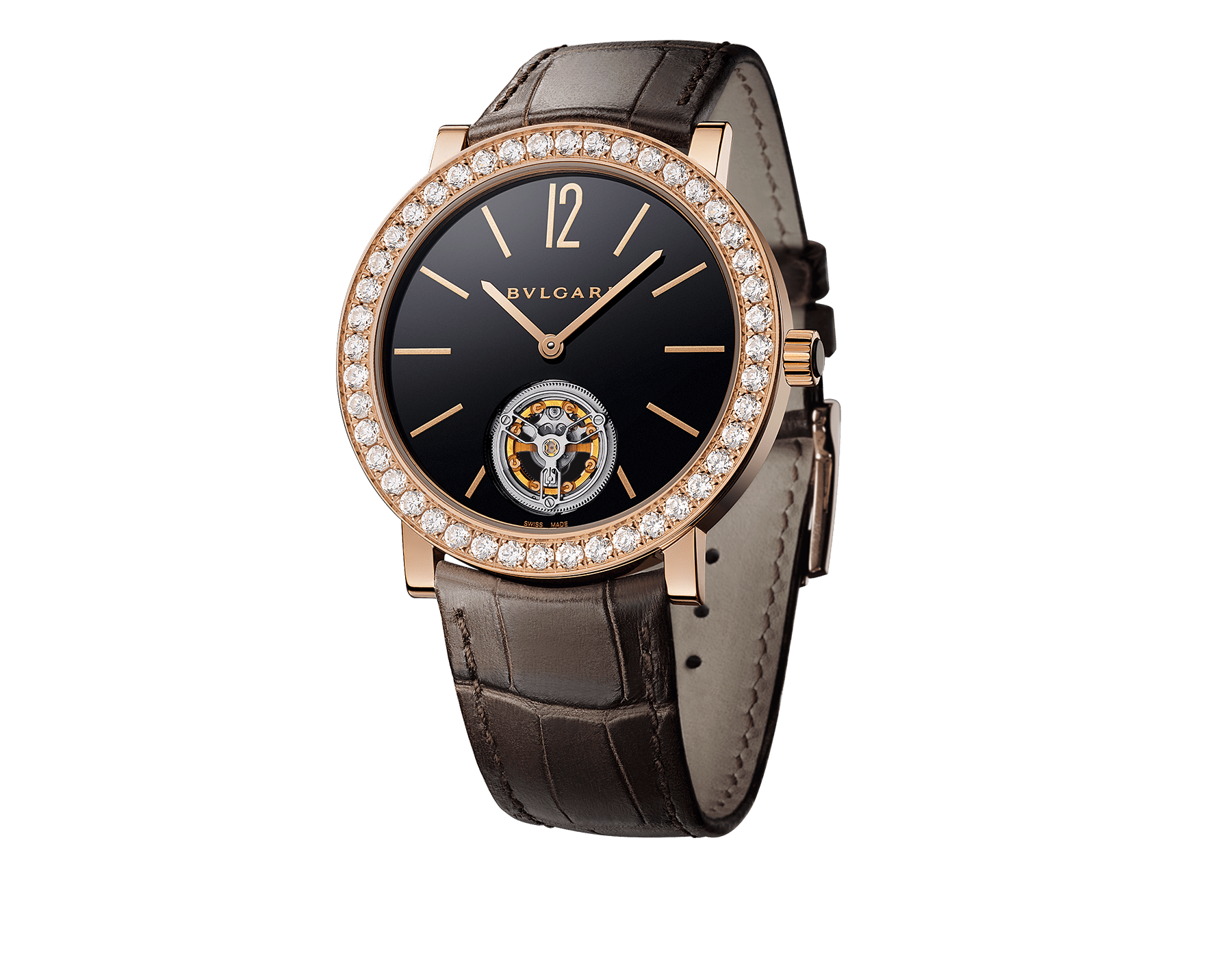 BVLGARI ROMA Finissimo Tourbillon watch with mechanical movement, manual winding and ball-bearing system, 18 kt rose gold case set with brilliant-cut diamonds, black lacquered dial with tourbillon see-through opening and brown alligator bracelet 102430 image 1