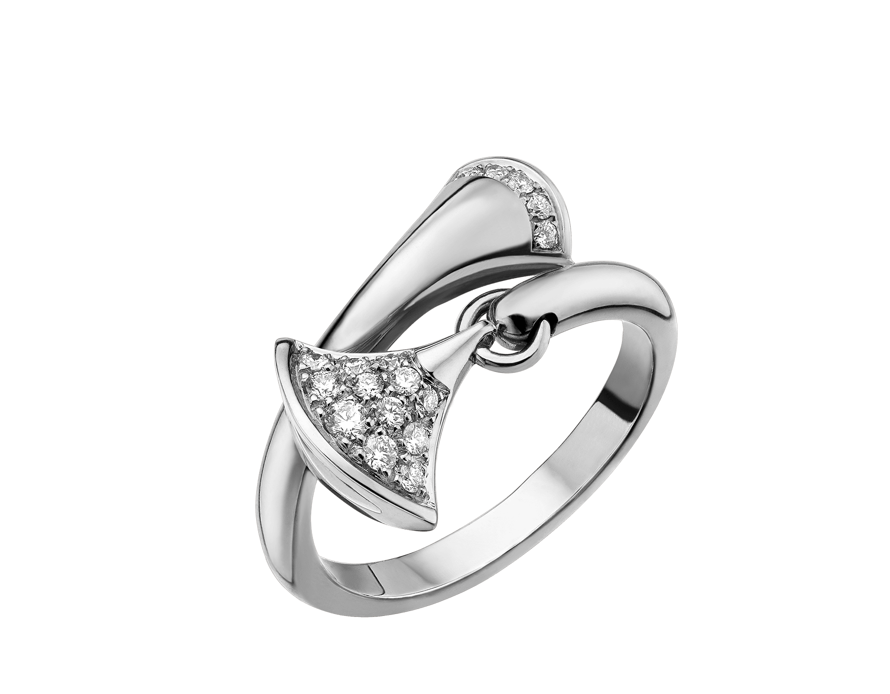 DIVAS' DREAM ring in 18 kt white gold set with pavé diamonds. AN857491 image 1