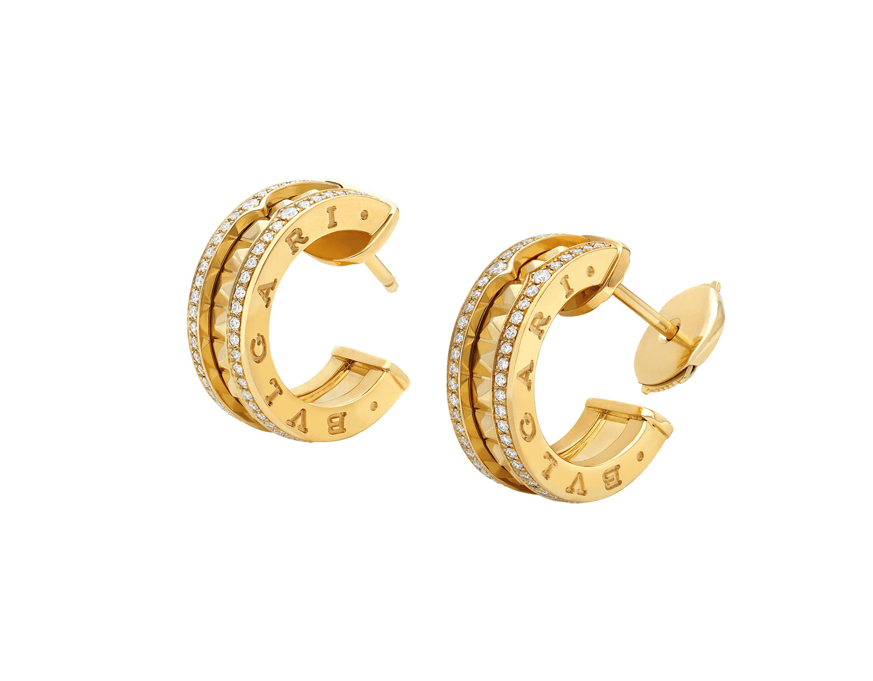 B.zero1 Rock 18 kt yellow gold earrings with studded spiral and pavé diamonds on the edges 357918 image 2