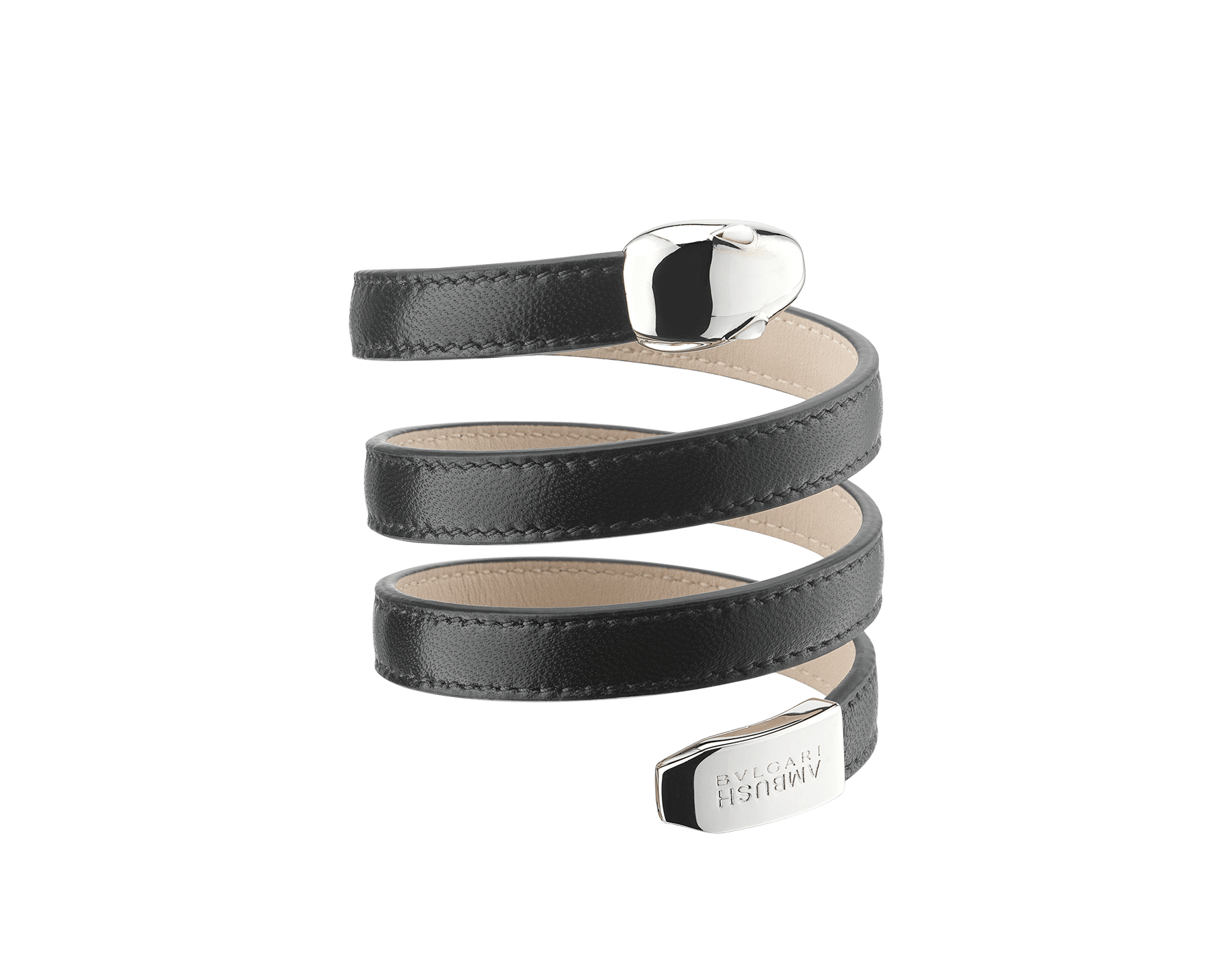 """""""Ambush x Bvlgari"""" Serpenti multi-coiled bracelet in black nappa leather. This model features palladium-plated brass iconic snakehead décor, finished with mother of pearl eyes and snake tail with the """"BVLGARI AMBUSH"""" logo. Limited edition. 290366 image 1"""
