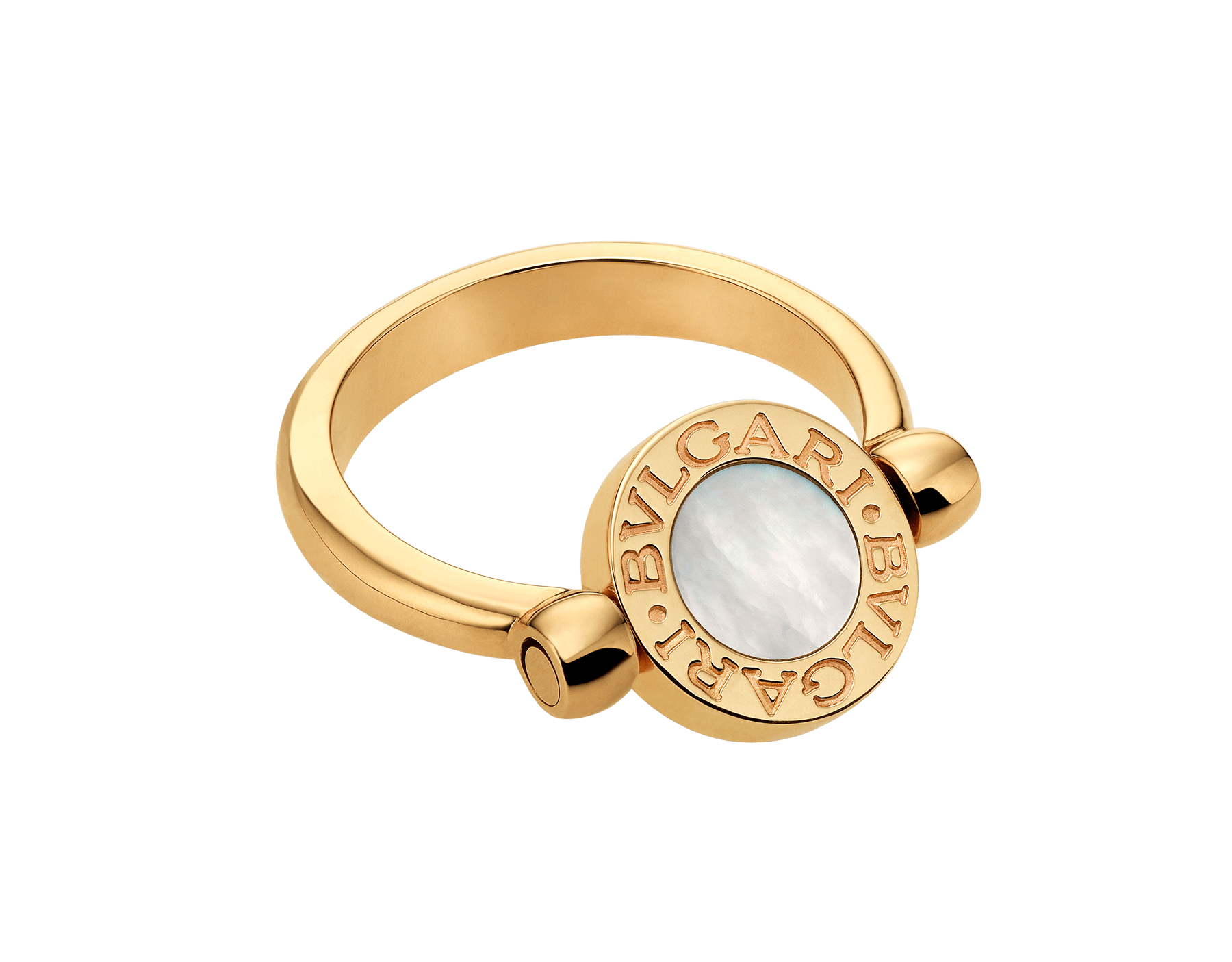 BVLGARI BVLGARI 18 kt yellow gold flip ring set with mother-of-pearl and onyx elements AN857191 image 1