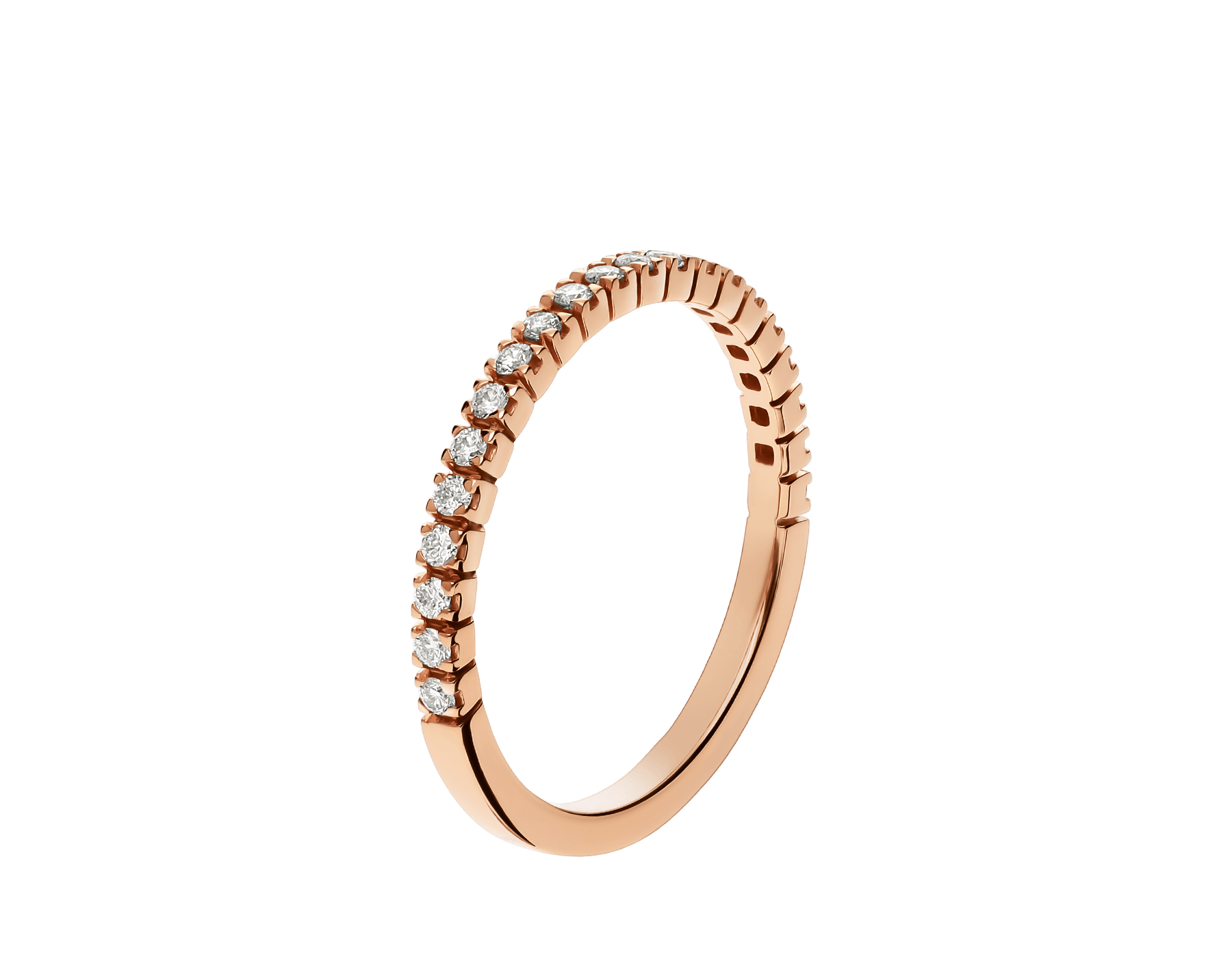 Alliance Eternity fine en or rose 18 K avec demi-tour diamants ronds taille brillant AN857561 image 1