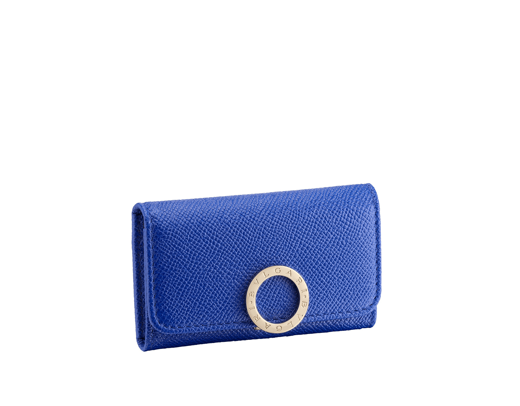 BVLGARI BVLGARI small keyhoder in cobalt tourmaline grain calf leather and aster amethyst nappa leather. Iconic logo clip closure in light gold plated brass 287260 image 1