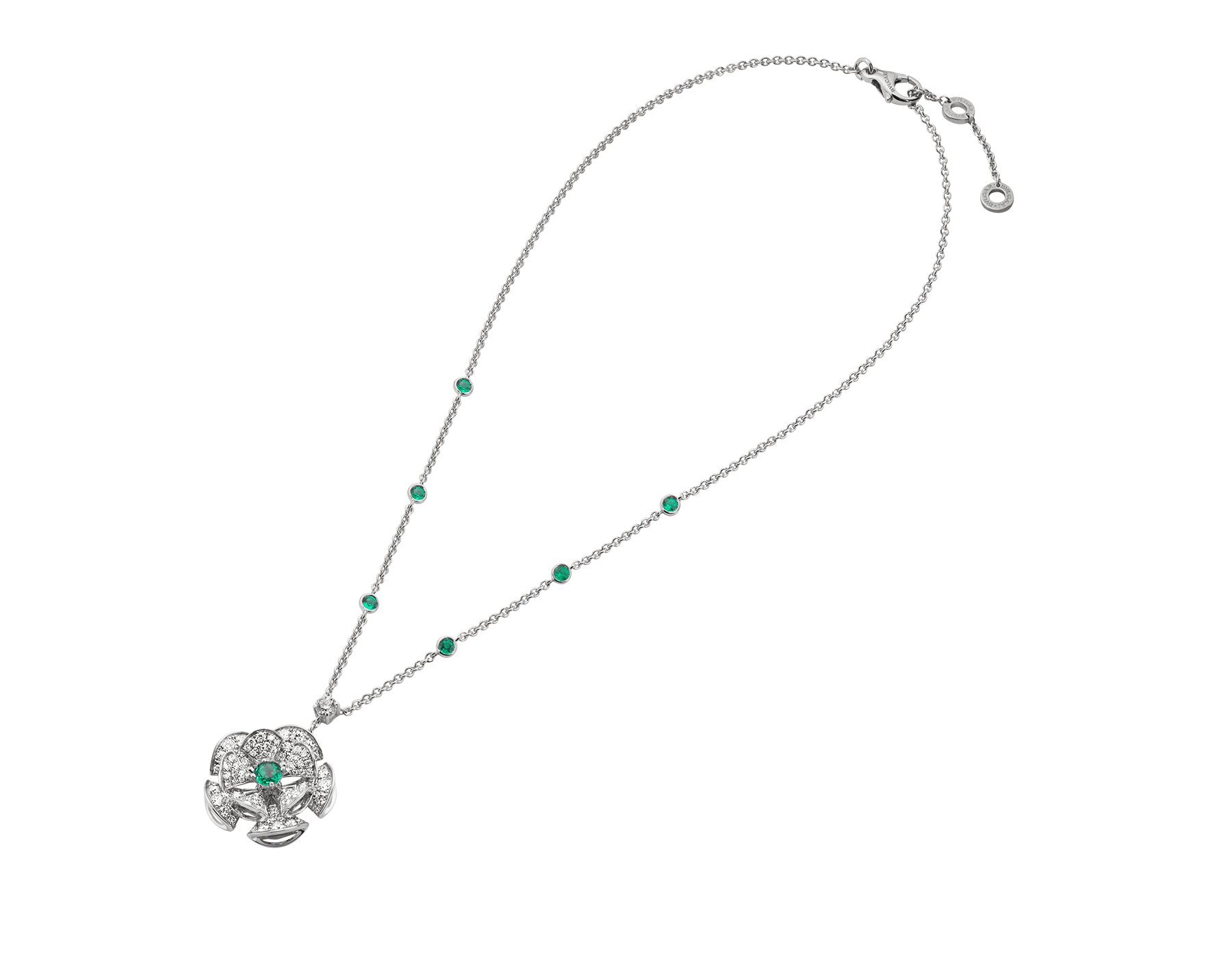 DIVAS' DREAM necklace in 18 kt white gold with chain set with emeralds and a diamond, and a pendant set with a central emerald and pavé diamonds. 352626 image 2