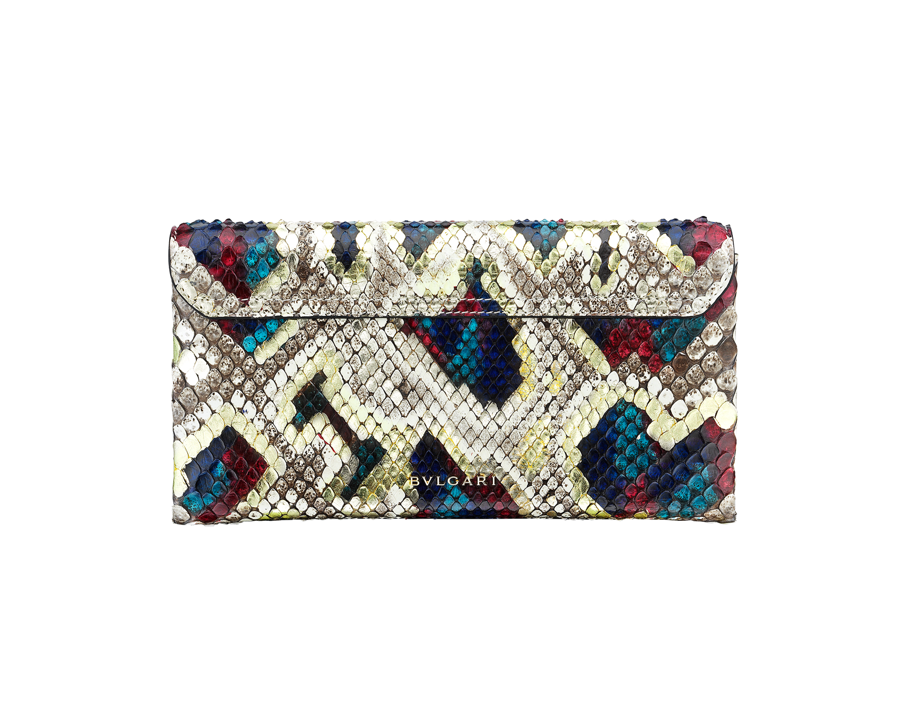 """""""Serpenti"""" evening clutch bag in white agate Lunar python skin. Iconic snakehead stud closure with tassel in light gold plated brass enriched with black and roman garnet enamel and black onyx eyes. 288485 image 3"""