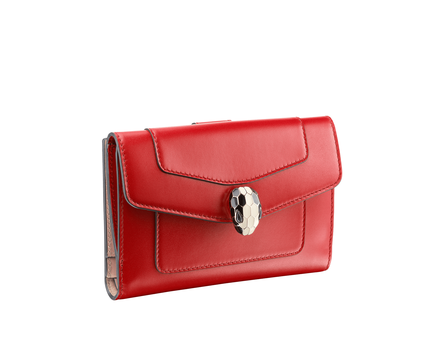 Compact pochette in ruby red calf leather, desert quartz calf leather and fuxia nappa lining. Brass light gold plated Serpenti head stud closure with green malachite eyes. 282666 image 1