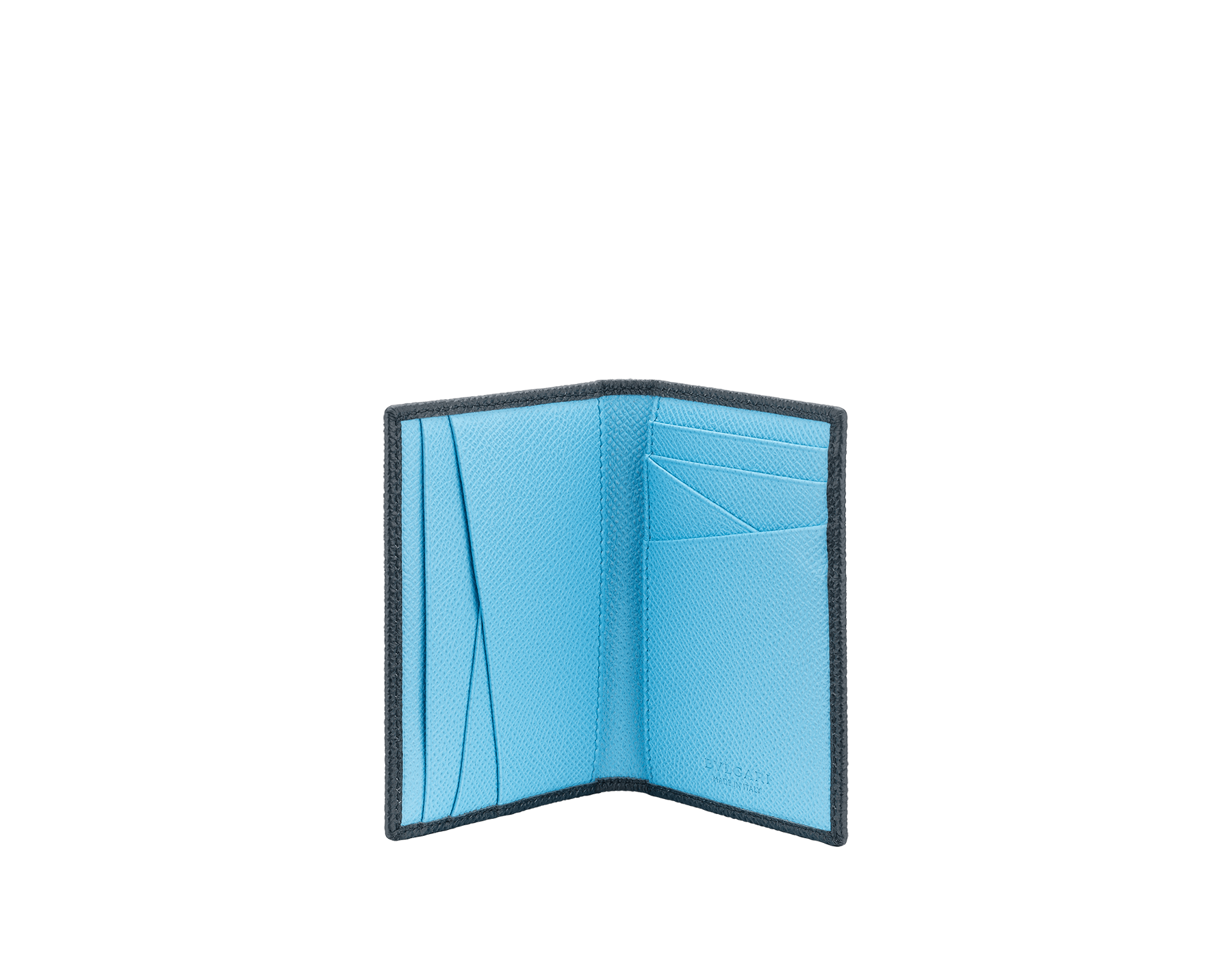 """BVLGARI BVLGARI MAN"" bi-fold card holder in Charcoal Diamond grey and light Aegean Topaz blue grained calfskin. BVLGARI BVLGARI embellishment in palladium-plated brass. 290660 image 2"