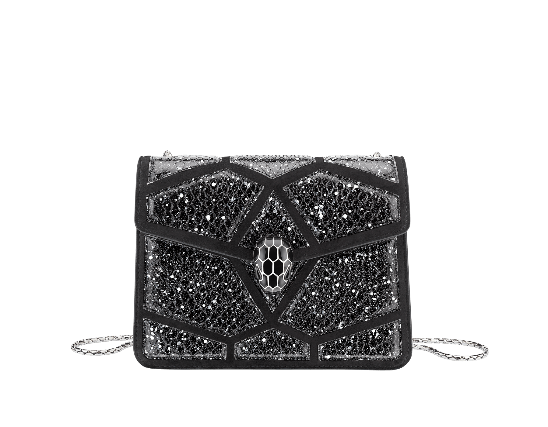 Serpenti Forever crossbody bag in black and white Stardust Cosmic python skin and black calf leather. Snakehead closure in palladium plated brass decorated with black enamel, and black onyx eyes. 288222 image 1