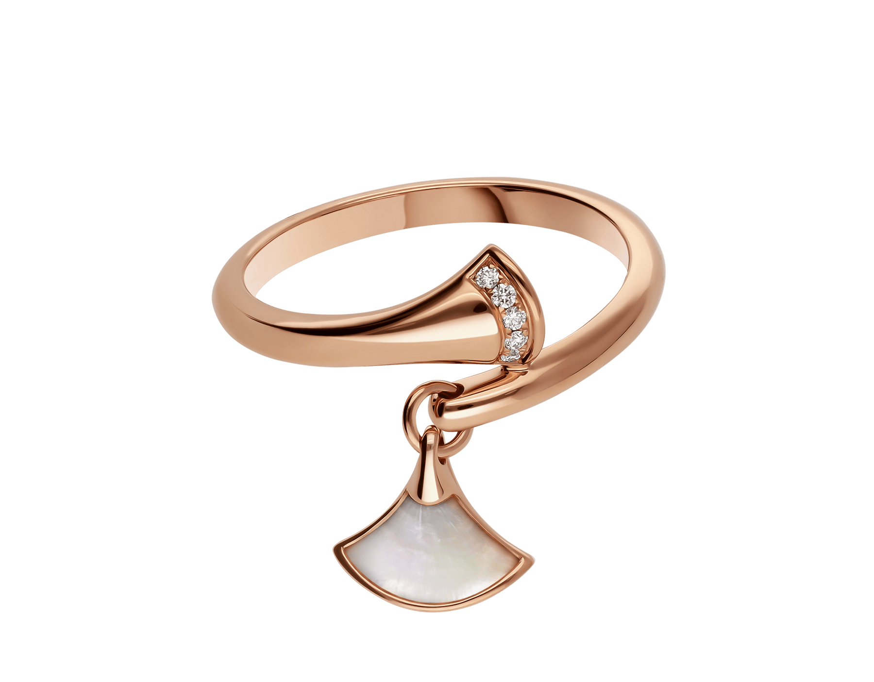 DIVAS' DREAM ring in 18 kt rose gold set with pavé diamonds and charm set with mother-of-pearl. AN857333 image 2