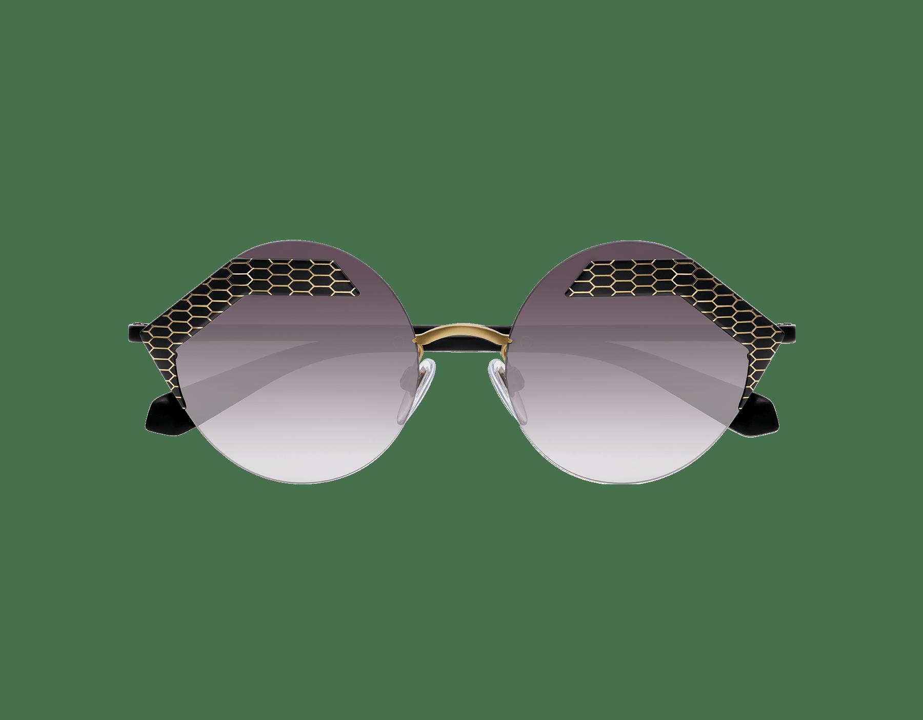 Bulgari 'Serpenteyes' hexagonal metal frame sunglasses with flat round lenses. 903234 image 2