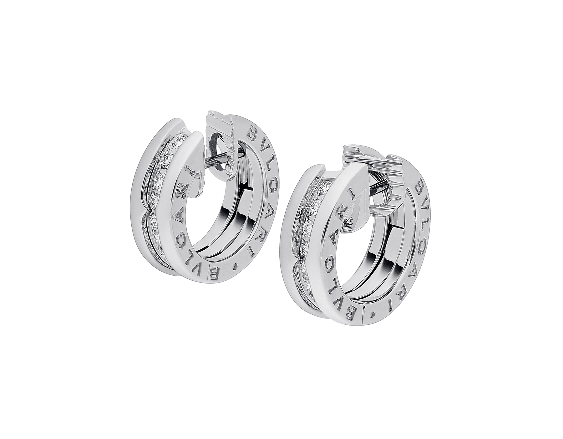 B.zero1 small hoop earrings in 18kt white gold set with pavé diamond. 345581 image 2