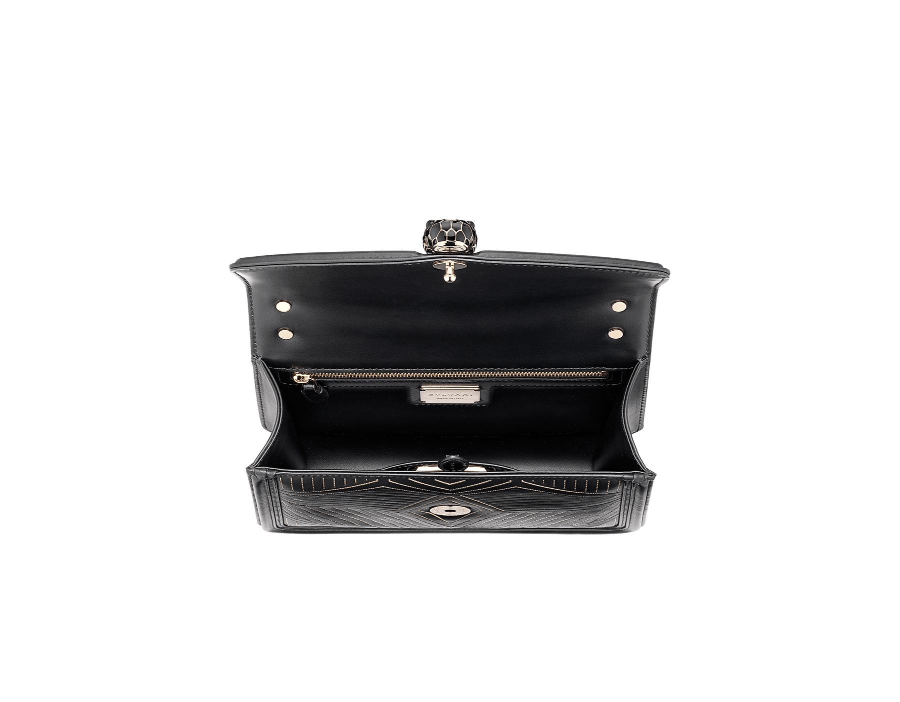 """Serpenti Diamond Blast"" shoulder bag in black smooth calf leather, featuring a Whispy Chain motif in light gold finishing. Iconic snake head closure in light gold plated brass enriched with black and white enamel and black onyx eyes. 288983 image 5"