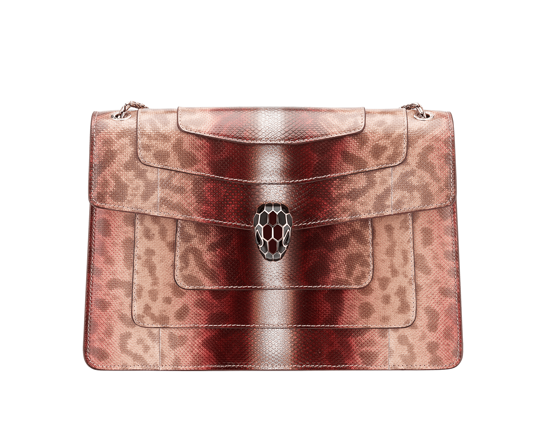 Serpenti Forever shoulder bag in rosa di francia Sahara karung skin. Iconic snakehead closure in light gold plated brass embellished with roman garnet and black enamel and black onyx eyes . 289015 image 1