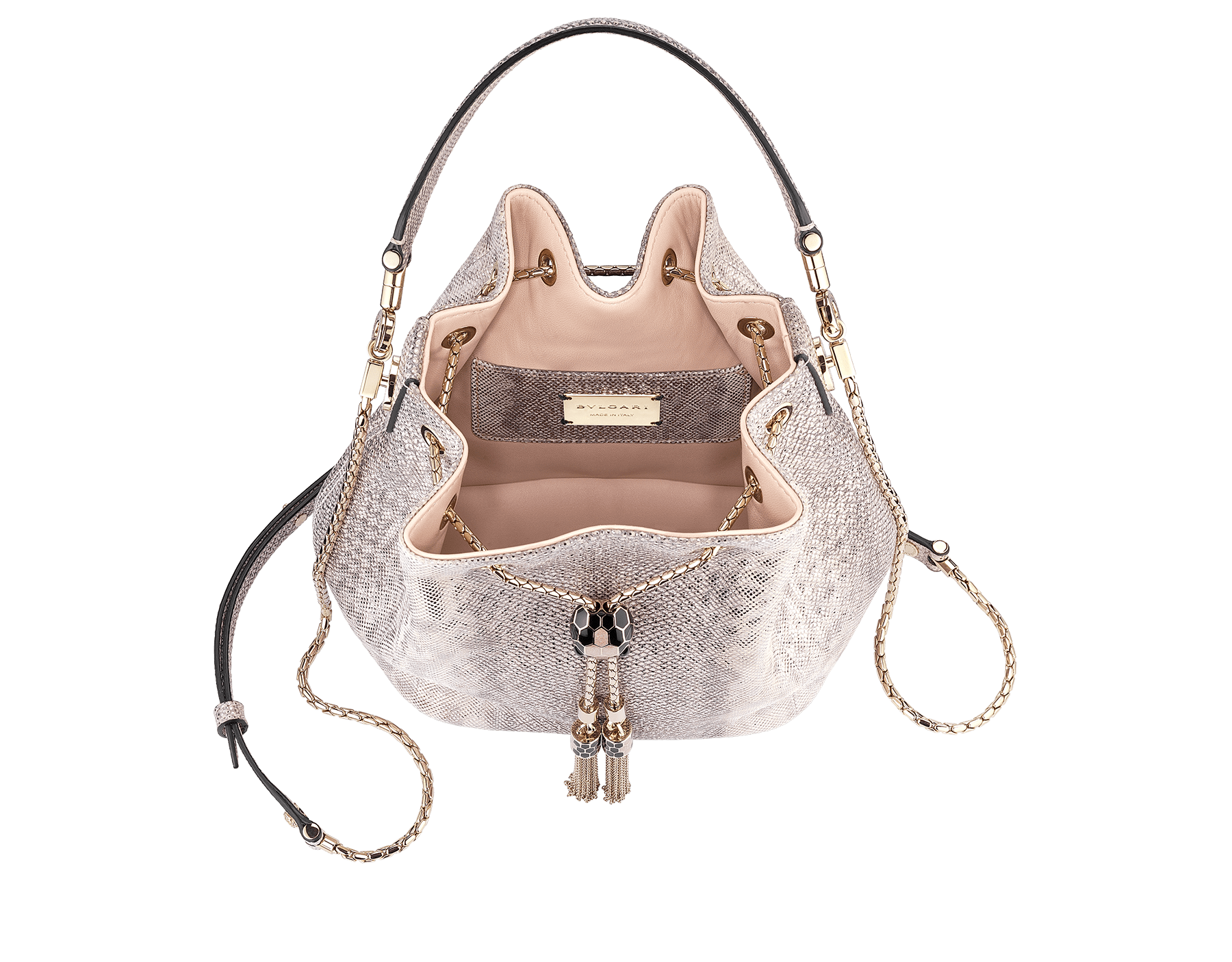Bucket Serpenti Forever in crystal rose metallic karung skin and crystal rose nappa internal lining. Hardware in light gold plated brass and snakehead closure in black and glitter rose gold enamel, with eyes in black onyx 287614 image 2