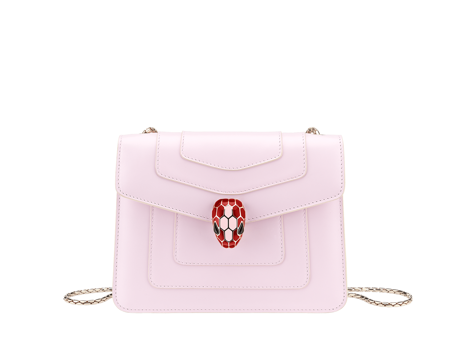 Serpenti Forever crossbody bag in sea star coral smooth calf leather body and milky opal calf leather sides. Snakehead closure in light gold plated brass decorated with milky opal and black enamel, and black onyx eyes. 422-BCLa image 1