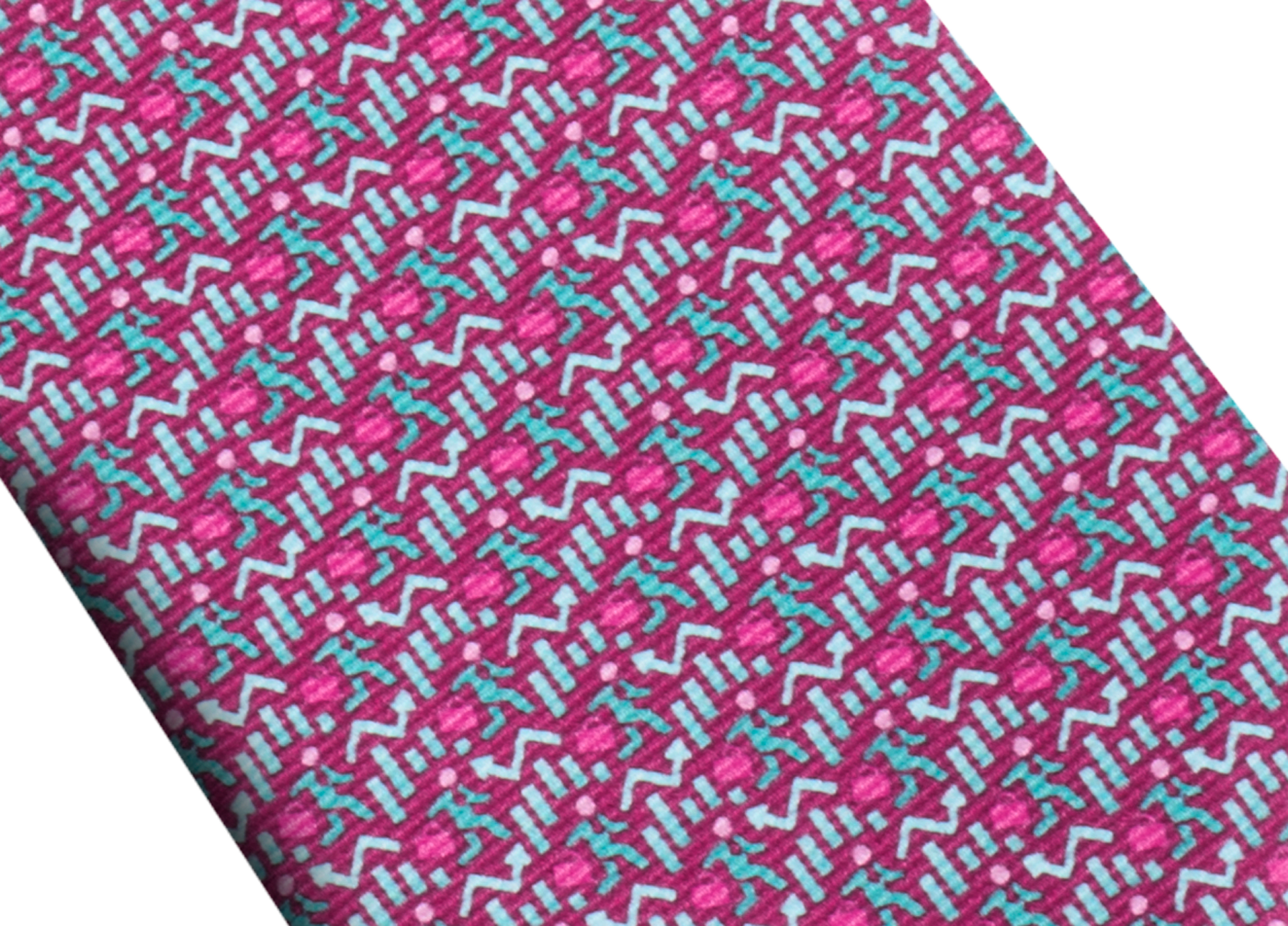 Fuchsia Running Business pattern seven-folds tie in fine saglione printed silk. 243655 image 2