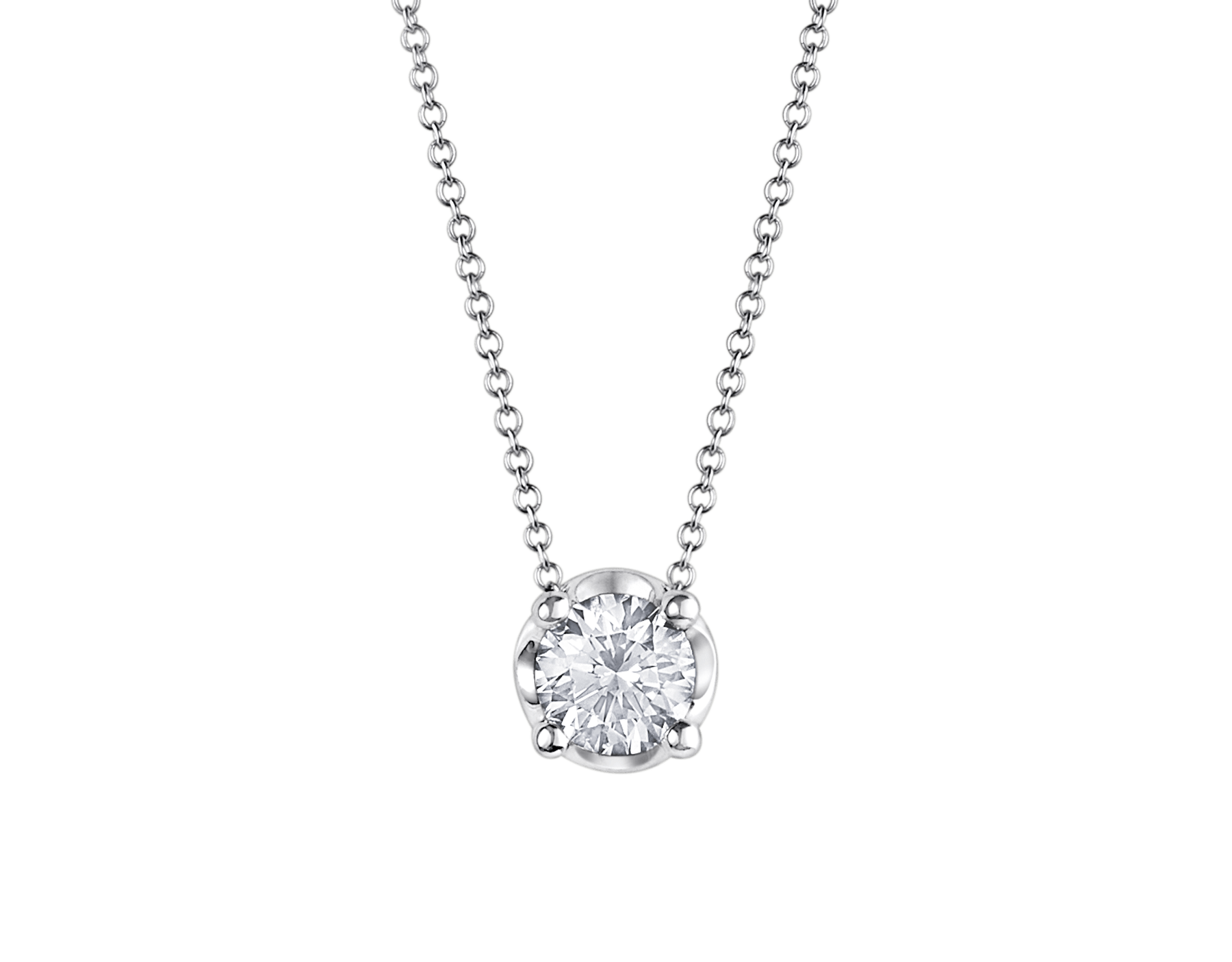 Corona necklace with 18 kt white gold chain and 18 kt white gold pendant set with a round brilliant cut diamond CL-CORONA image 1
