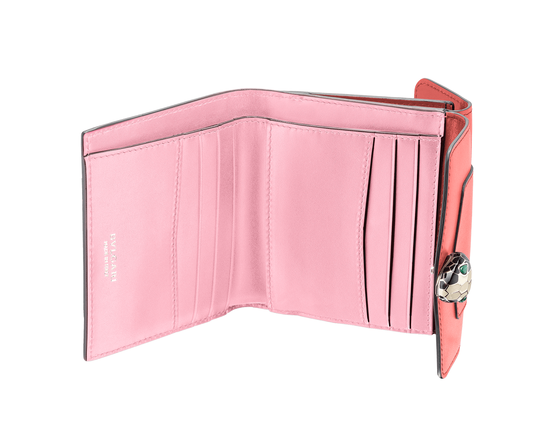 Serpenti Forever square compact wallet in silky coral and flamingo quartz calf leather. Iconic snake head stud closure in black and white enamel, with green malachite eyes. 288834 image 2