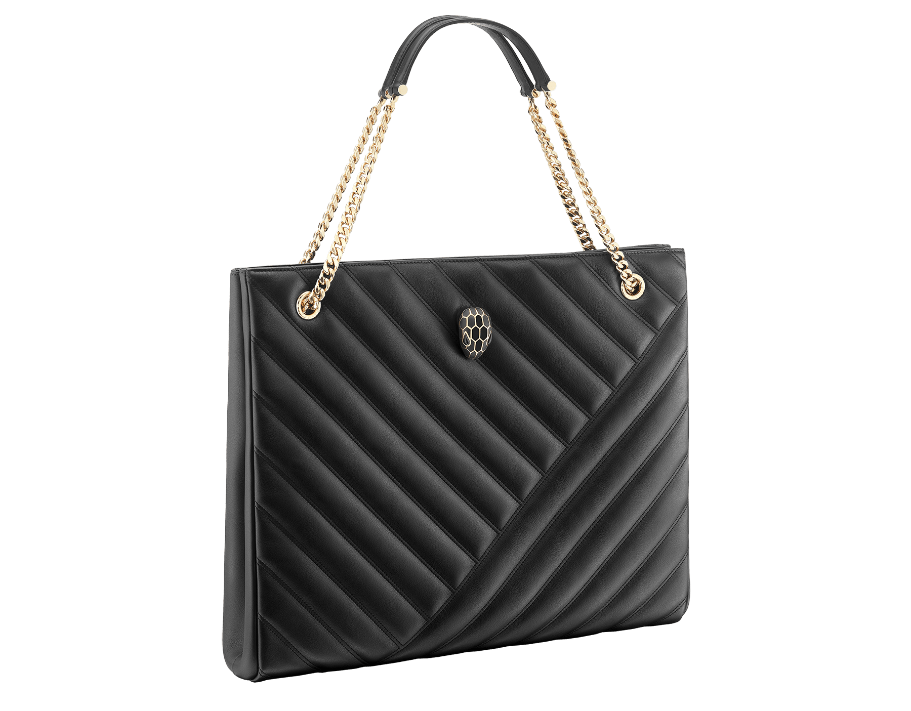 Serpenti Cabochon tote bag in soft matelassé black nappa leather with graphic motif and black calf leather. Snakehead decòr in rose gold plated brass embellished with matte black and shiny black enamel, and black onyx eyes. 287996 image 2