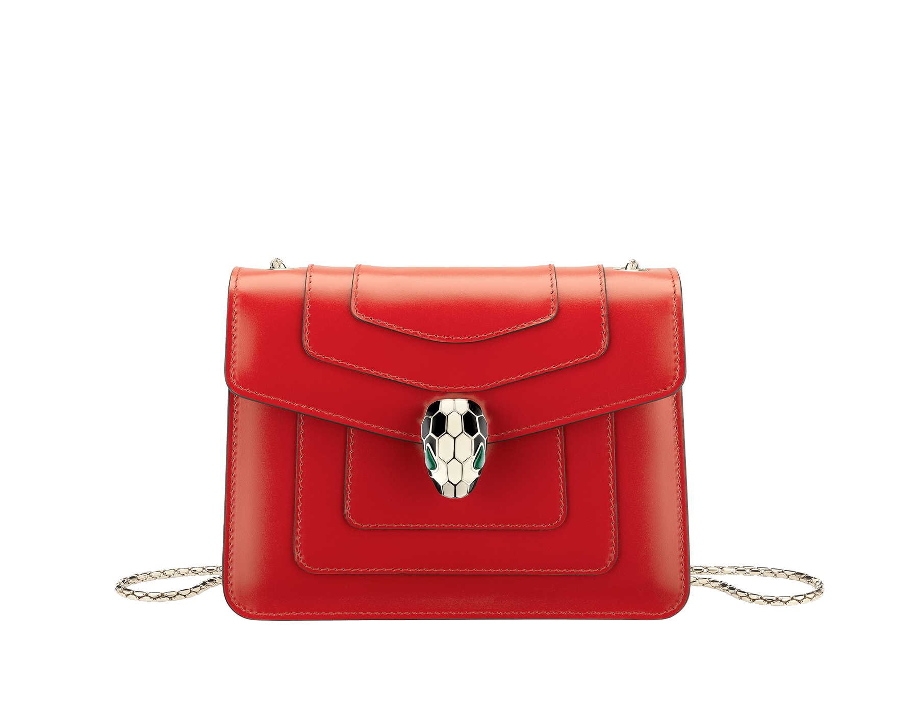 """Serpenti Forever "" crossbody bag in carmine jasper calf leather. Iconic snakehead closure in light gold plated brass enriched with black and white enamel and green malachite eyes 287013 image 1"