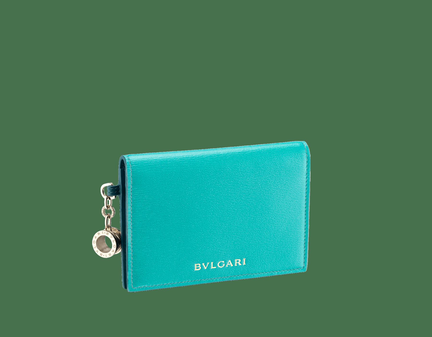 B.Zero1 熱帶綠松石色和深綠玉色羊皮折式信用卡夾。經典 B.Zero1 淡金色黃銅吊飾。 288238 image 1