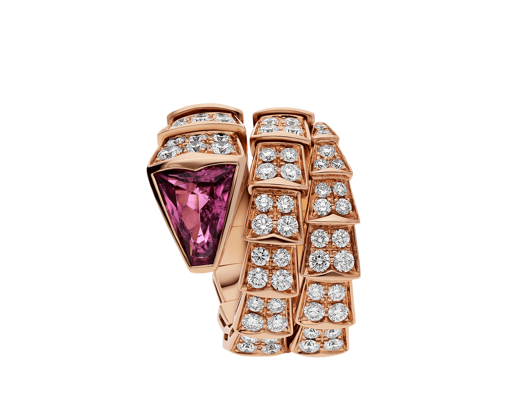 Serpenti two-coil ring in 18 kt rose gold, set with full pavé diamonds and a rubellite on the head. AN856156 image 2