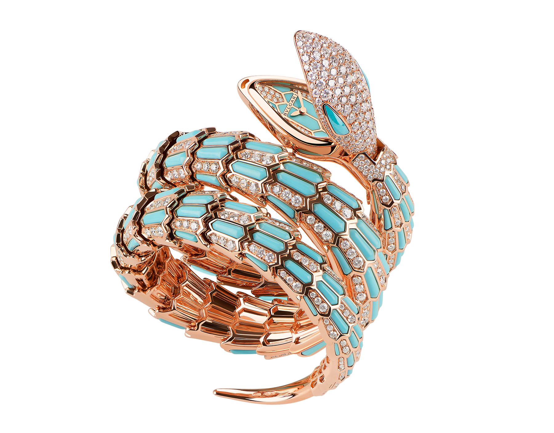 Serpenti Secret Watch with 18 kt rose gold head set with brilliant cut diamonds and turquoise eyes, 18 kt rose gold case, 18 kt rose gold dial and double spiral bracelet, both set with brilliant cut diamonds and turquoises. 102142 image 1