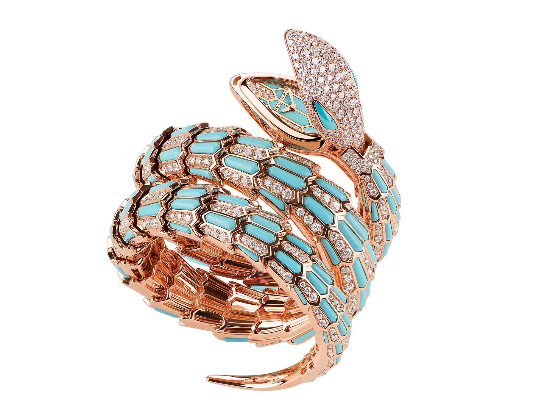 Serpenti Secret Watch 腕錶,18K 玫瑰金蛇頭鑲飾明亮型切割鑽石,蛇眼鑲飾綠松石,18K 玫瑰金錶殼,18K 玫瑰金錶盤和雙圈螺旋錶帶鑲飾明亮型切割鑽石和綠松石。 102142 image 1