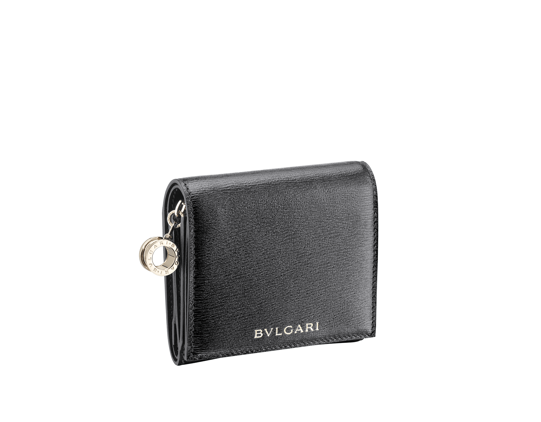 B.zero1 super compact wallet in black goatskin. Iconic B.zero1 charm in light gold plated brass. 288240 image 1