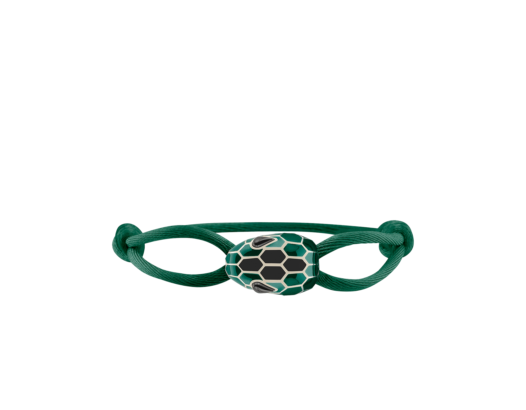 Serpenti Forever bracelet in emerald green fabric with an iconic snakehead décor in tone on tone and black enamel. 287822 image 1