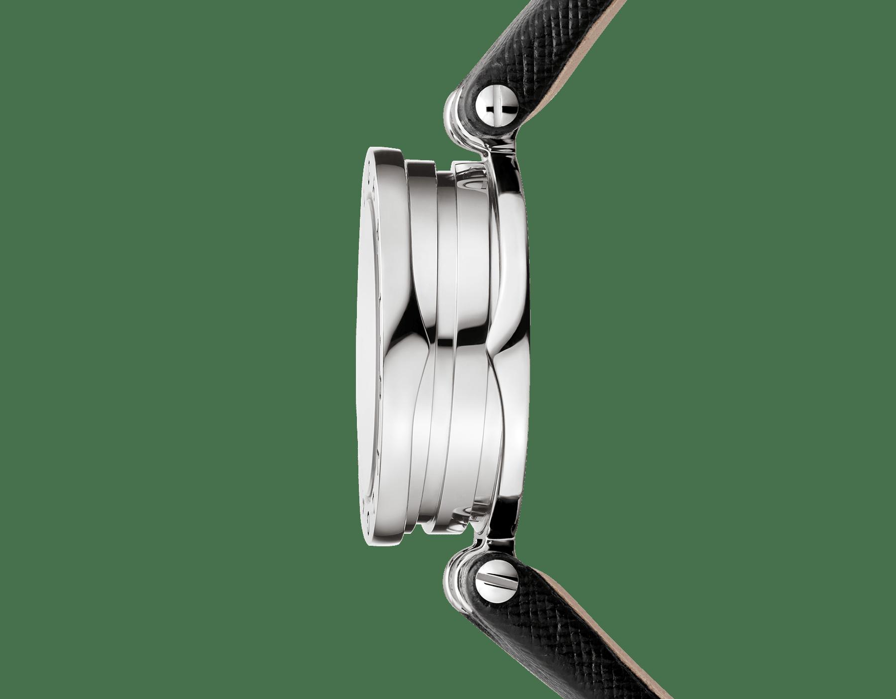 Orologio B.zero1 con cassa in acciaio inossidabile, spirale in ceramica nera quadrante laccato nero e cinturino in pelle nera. 102179 image 3