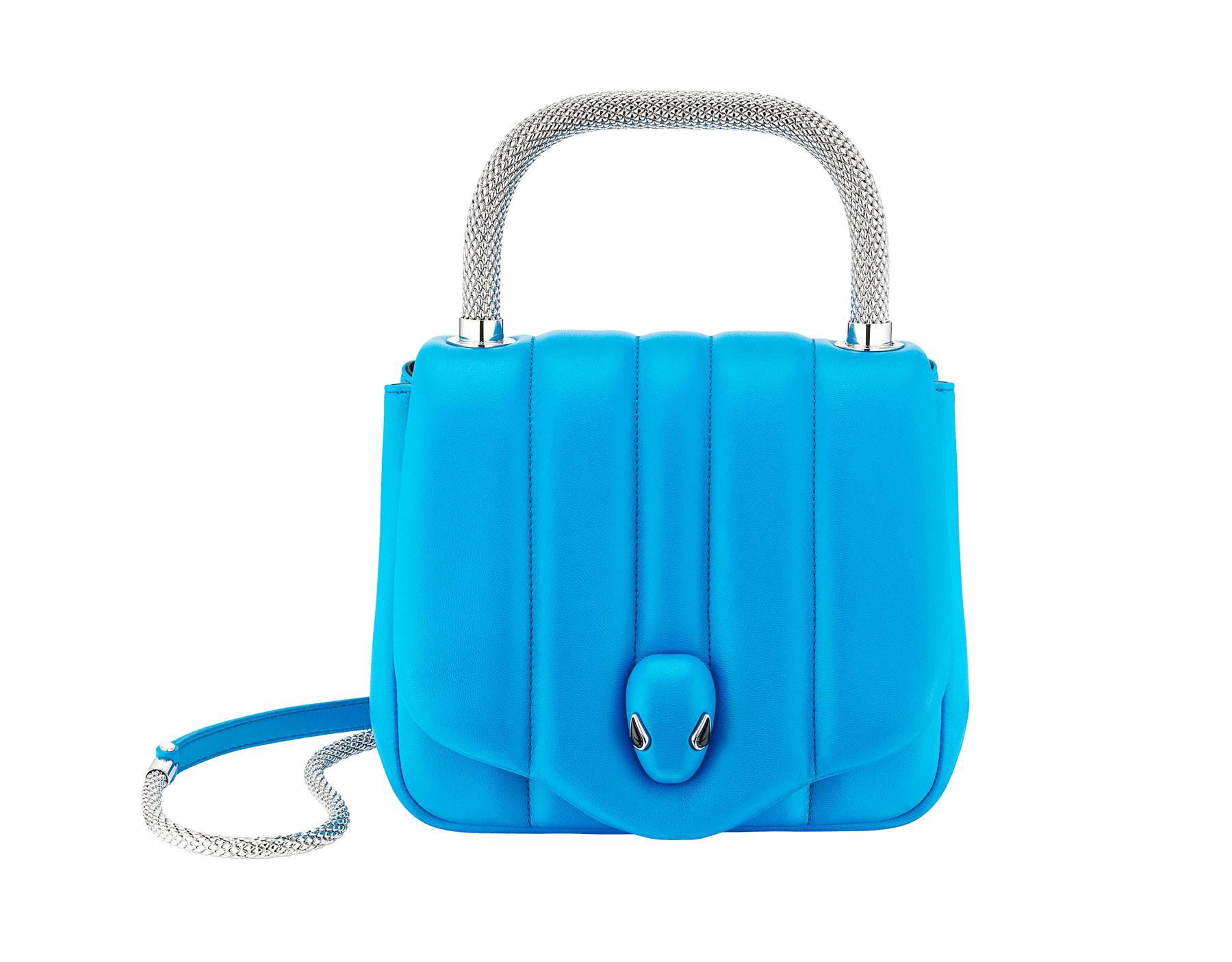 """Ambush x Bvlgari"" top handle bag in bright blue nappa leather. New Serpenti head closure in palladium plated brass dressed with bright blue nappa leather, finished with seductive black onyx eyes. Limited edition. 290344 image 1"