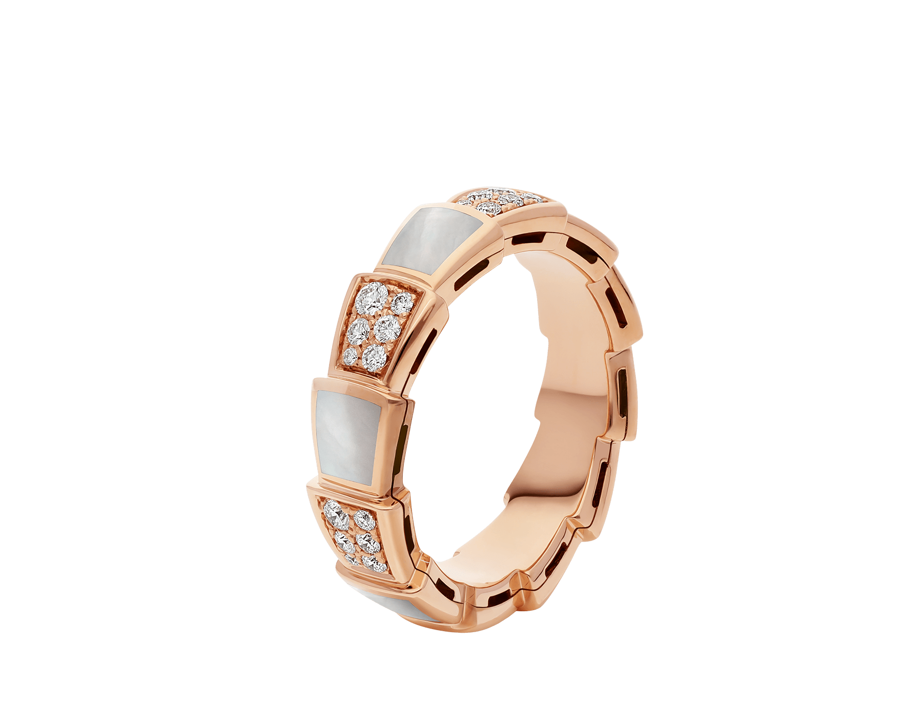 Serpenti Viper band ring in 18 kt rose gold set with mother-of-pearl elements and pavé diamonds . AN858043 image 1