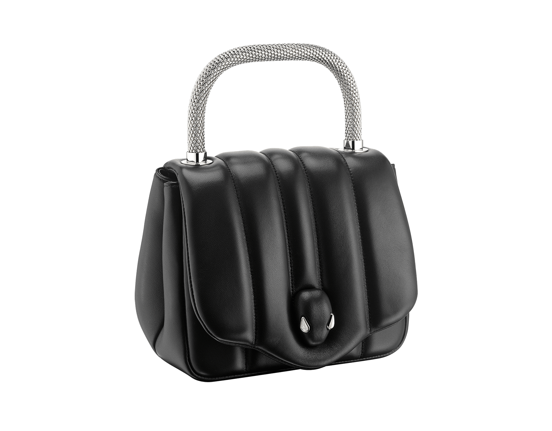 """Ambush x Bvlgari"" top handle bag in black nappa leather. New Serpenti head closure in palladium plated brass dressed with black nappa leather, finished with seductive mother of pearl eyes. Limited edition. 290343 image 2"