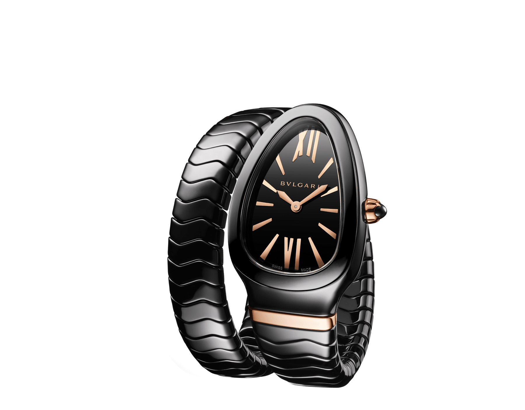 Serpenti Spiga single spiral watch with black ceramic case, black lacquered dial and black ceramic bracelet set with 18 kt rose gold elements. 102734 image 2