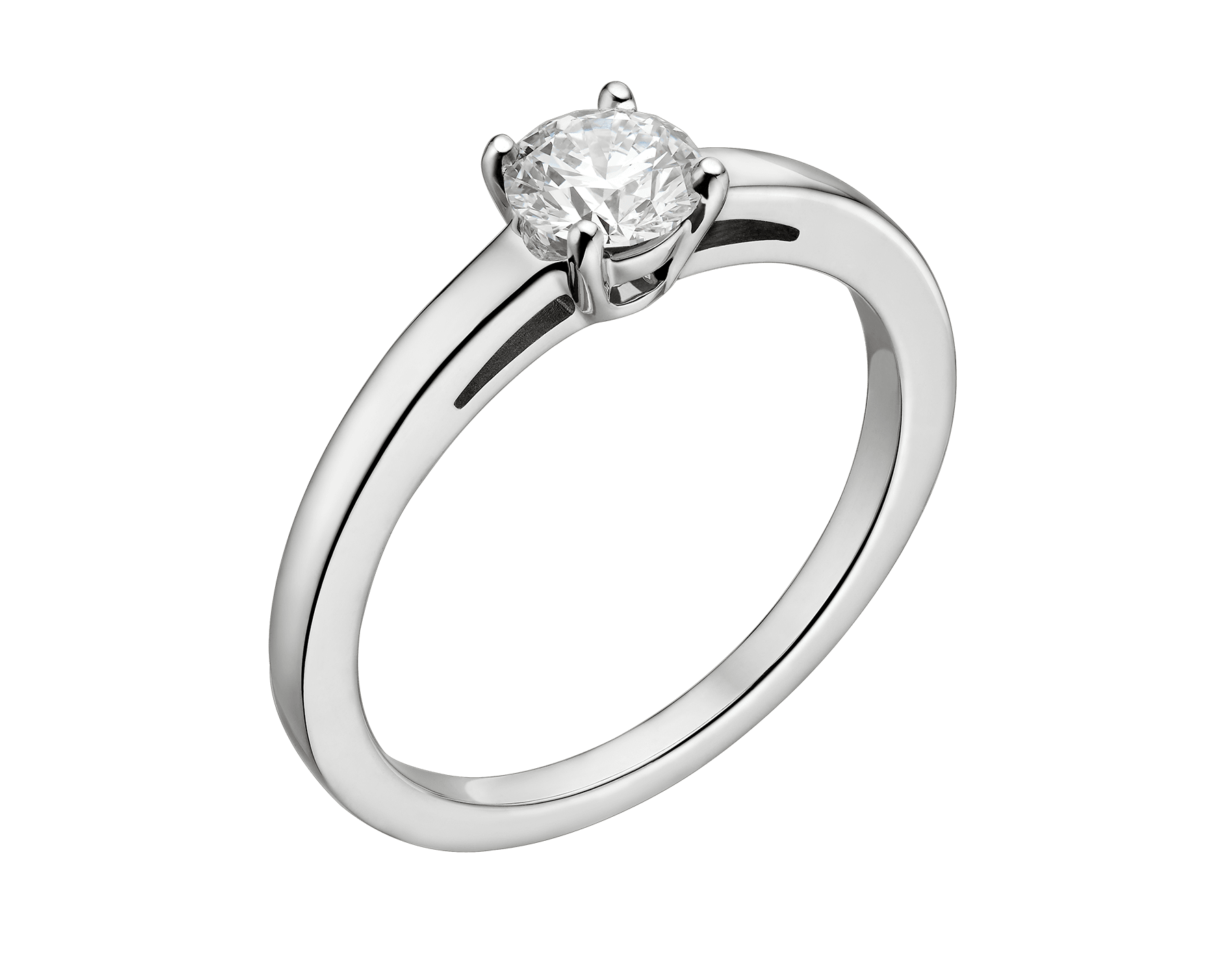 Griffe solitaire ring in platinum with round brilliant cut diamond. Available from 0.30 ct. A classic setting that allows the beauty and the pureness of the solitaire diamond to assert itself. 327457 image 1