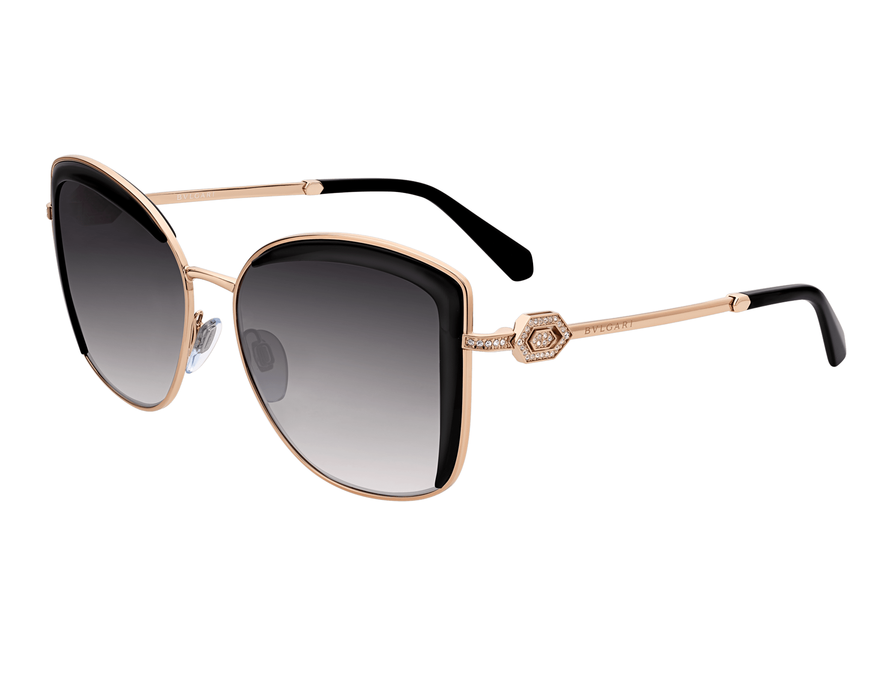 Bulgari Serpenti squared metal sunglasses with Serpenti openwork metal décor with crystals. 903903 image 1