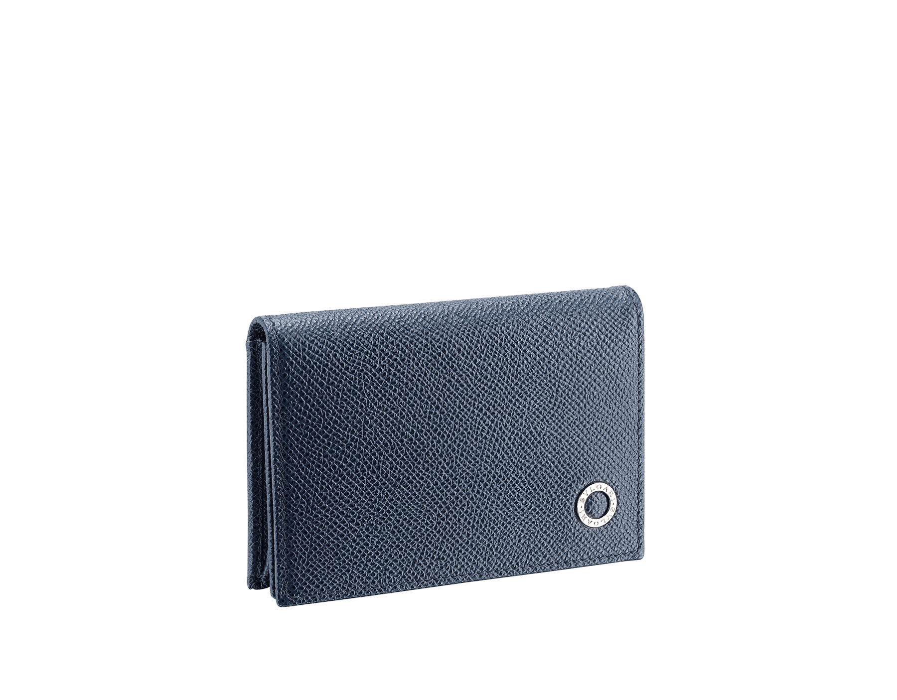"""BVLGARI BVLGARI"" business card holder in capri turquoise and royal sapphire grain calf leather, with brass palladium plated logo décor. BBM-BC-HOLD-SIMPLEb image 1"