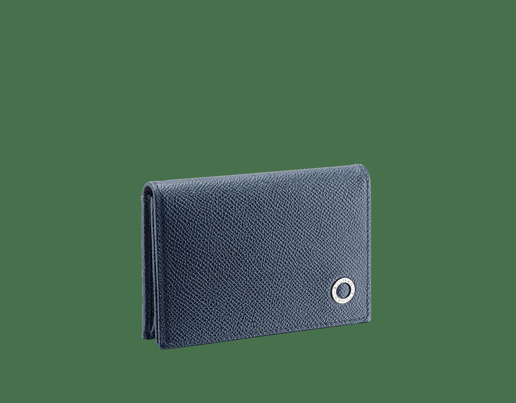 BVLGARI BVLGARI business card holder in denim sapphire and charcoal diamond grain calf leather, with brass palladium plated logo decoration. 289116 image 1
