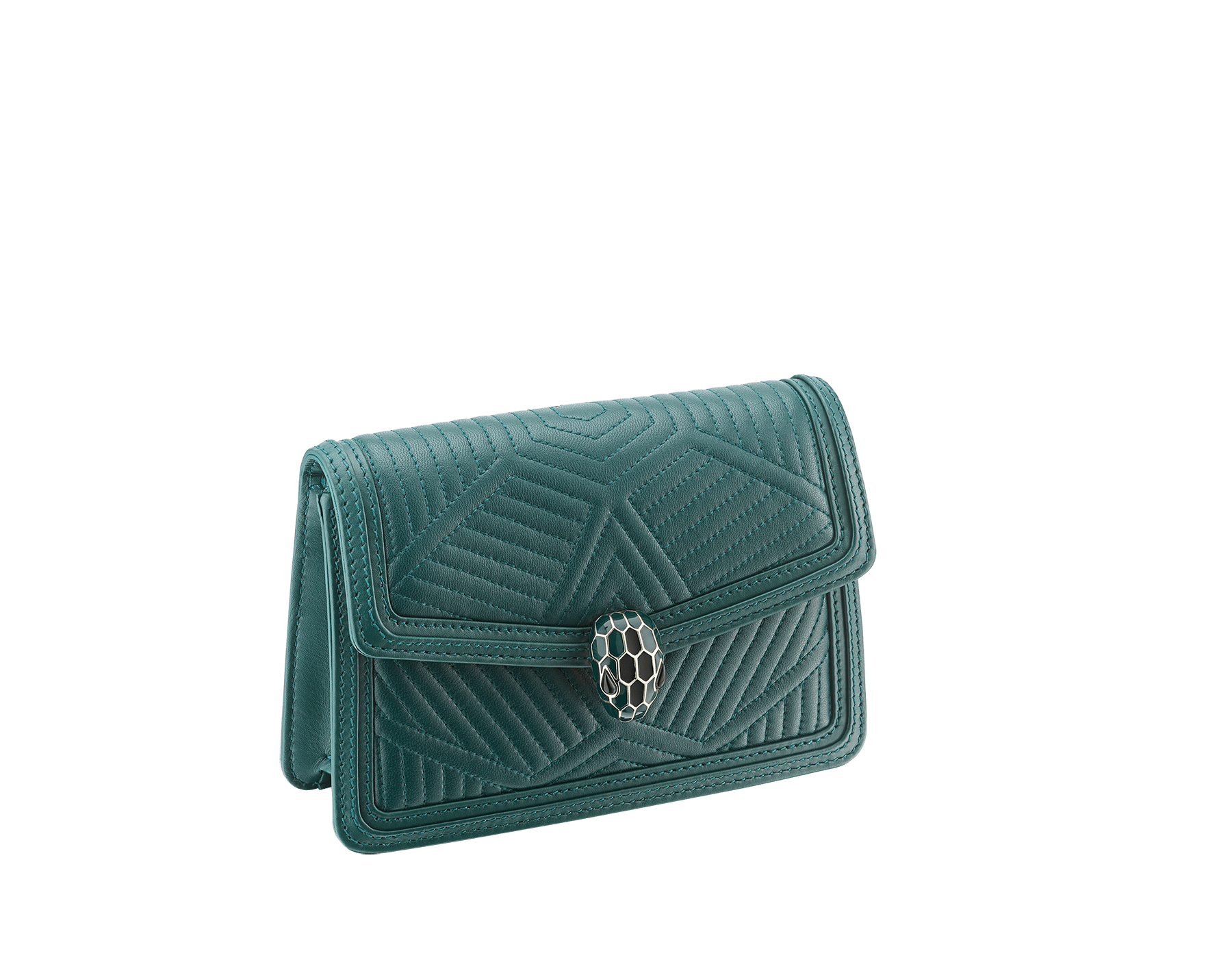 """Serpenti Diamond Blast"" crossbody mini bag in white agate quilted nappa leather body and deep jade and black calf leather frames. Iconic snakehead closure in light gold plated brass enriched with deep jade and black enamel and black onyx eyes. 987-FQD image 2"