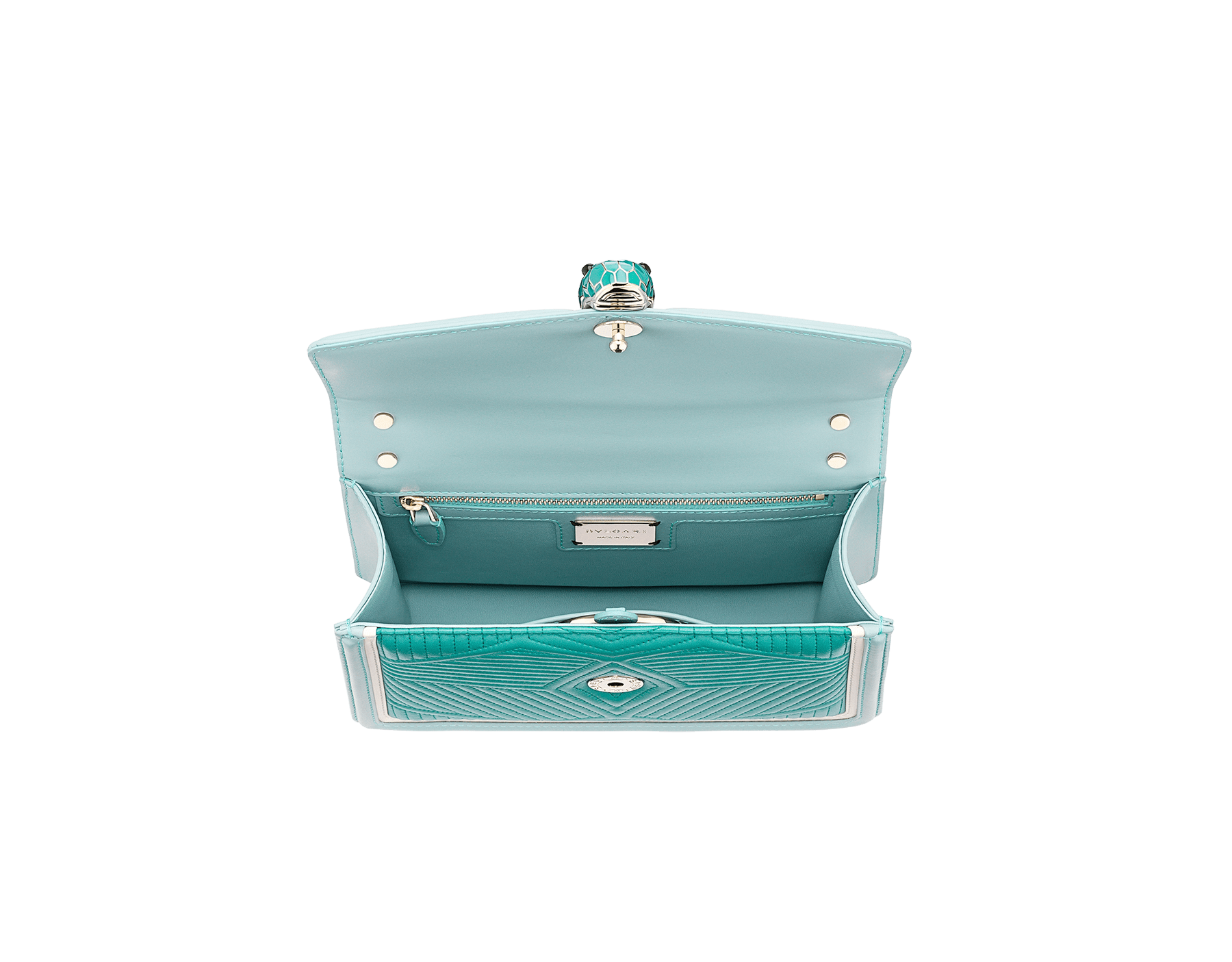 """Serpenti Diamond Blast"" shoulder bag in arctic jade quilted nappa leather and with glacier turquoise and white agate smooth calf leather frames. Iconic snakehead closure in light gold plated brass enriched with arctic jade and glacier turquoise enamel and black onyx eyes. 288824 image 4"