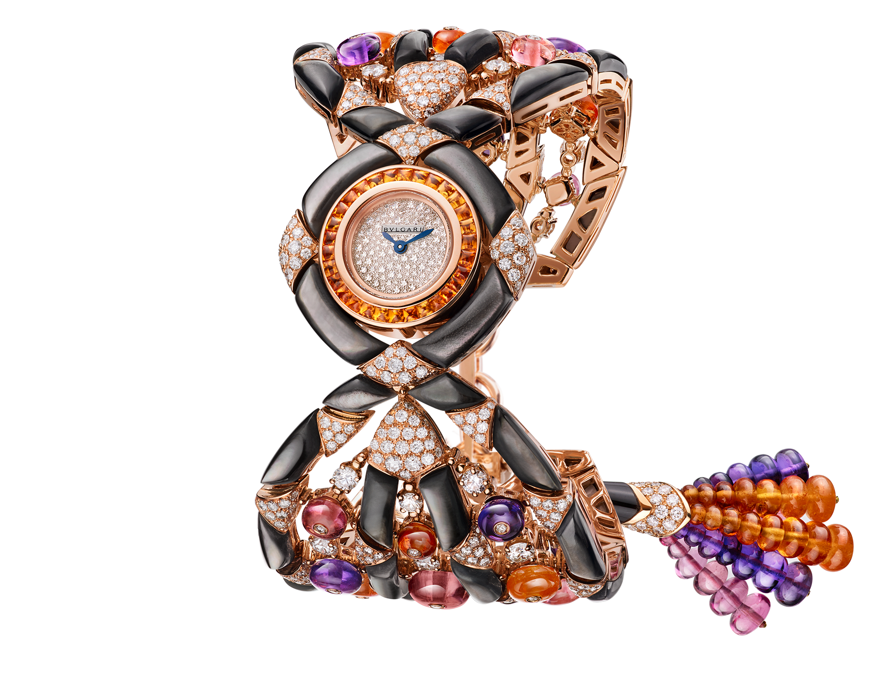 Gemma watch with 18 kt rose gold case set with buff-cut spessartite, brilliant cut-diamonds and black mother-of-pearl elements, snow pavé dial, 18 kt rose gold bracelet set with tourmaline, spessartite and amethyst beads, black mother-of-pearl elements and brilliant-cut diamonds 102242 image 1