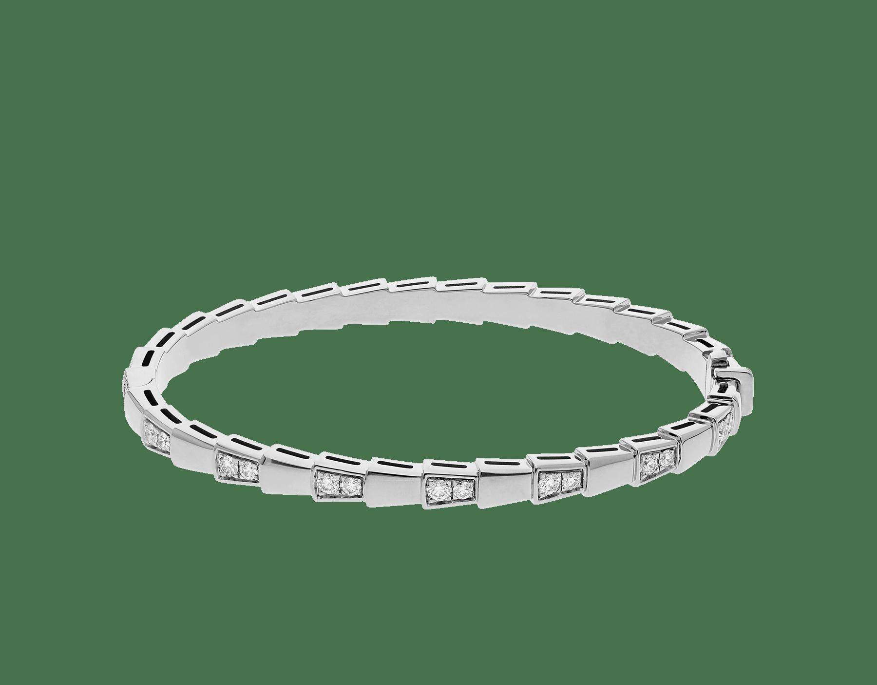 Serpenti Viper 18 kt white gold bracelet set with demi-pavé diamonds. (width 4 mm) BR858420 image 2