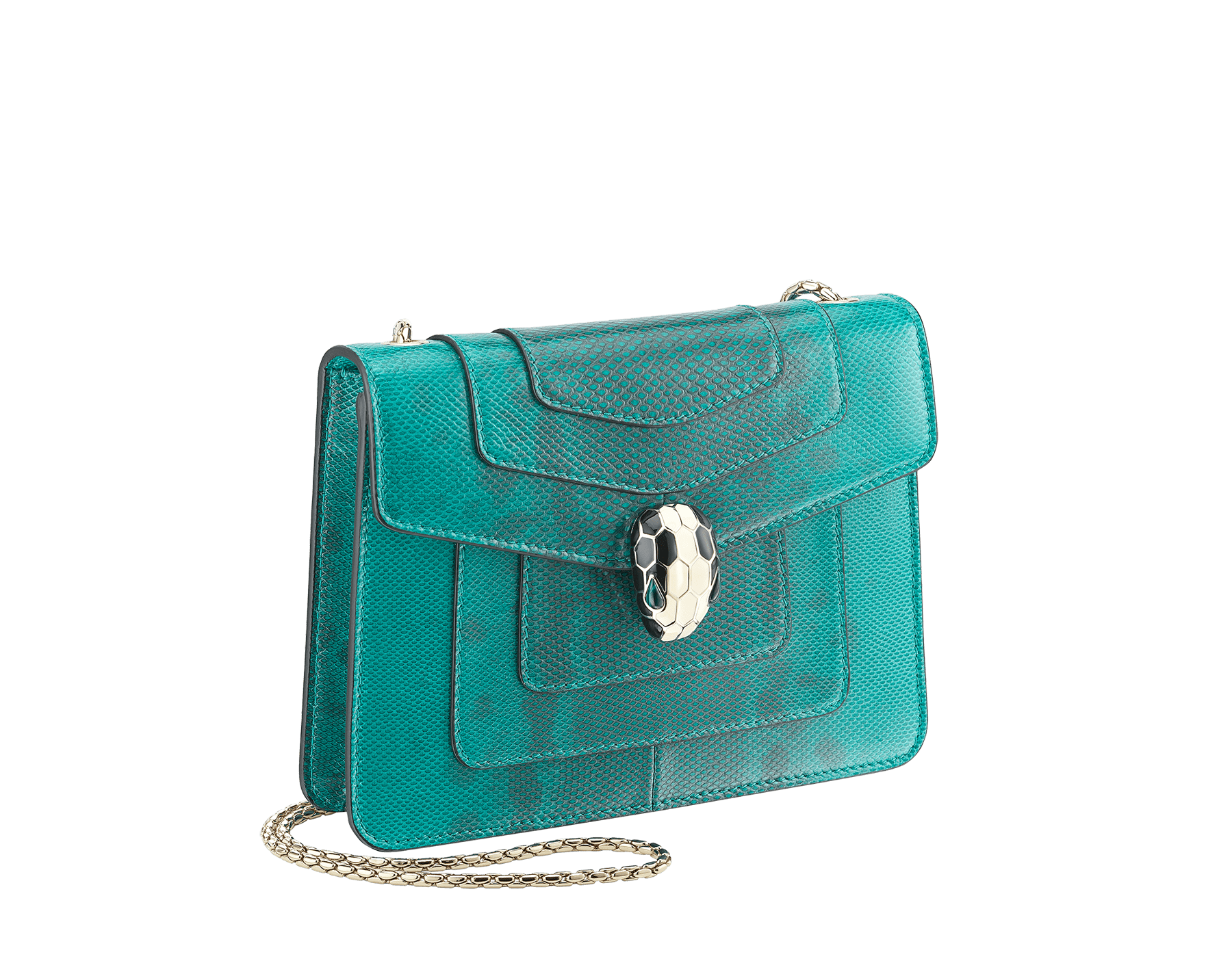 Serpenti Forever crossbody bag in tropical turquoise shiny karung skin. Snakehead closure in light gold plated brass decorated with black and white enamel, and green malachite eyes. 287912 image 2