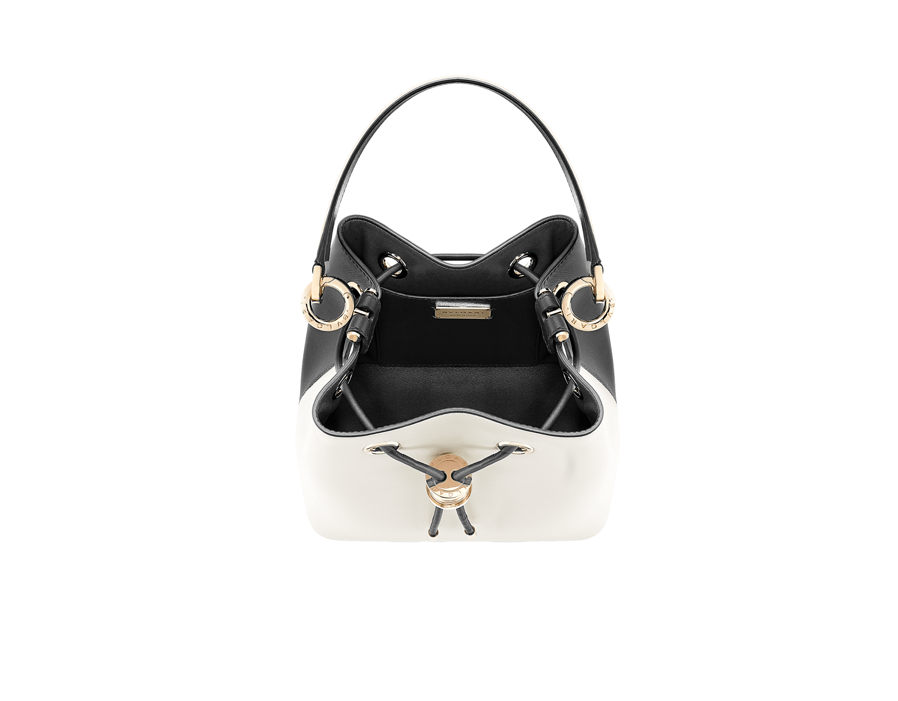 Bucket B.zero1 in black and white agate smooth calf leather and black nappa internal lining. Hardware in light gold plated brass, featuring a B.zero1 décor. 288210 image 2